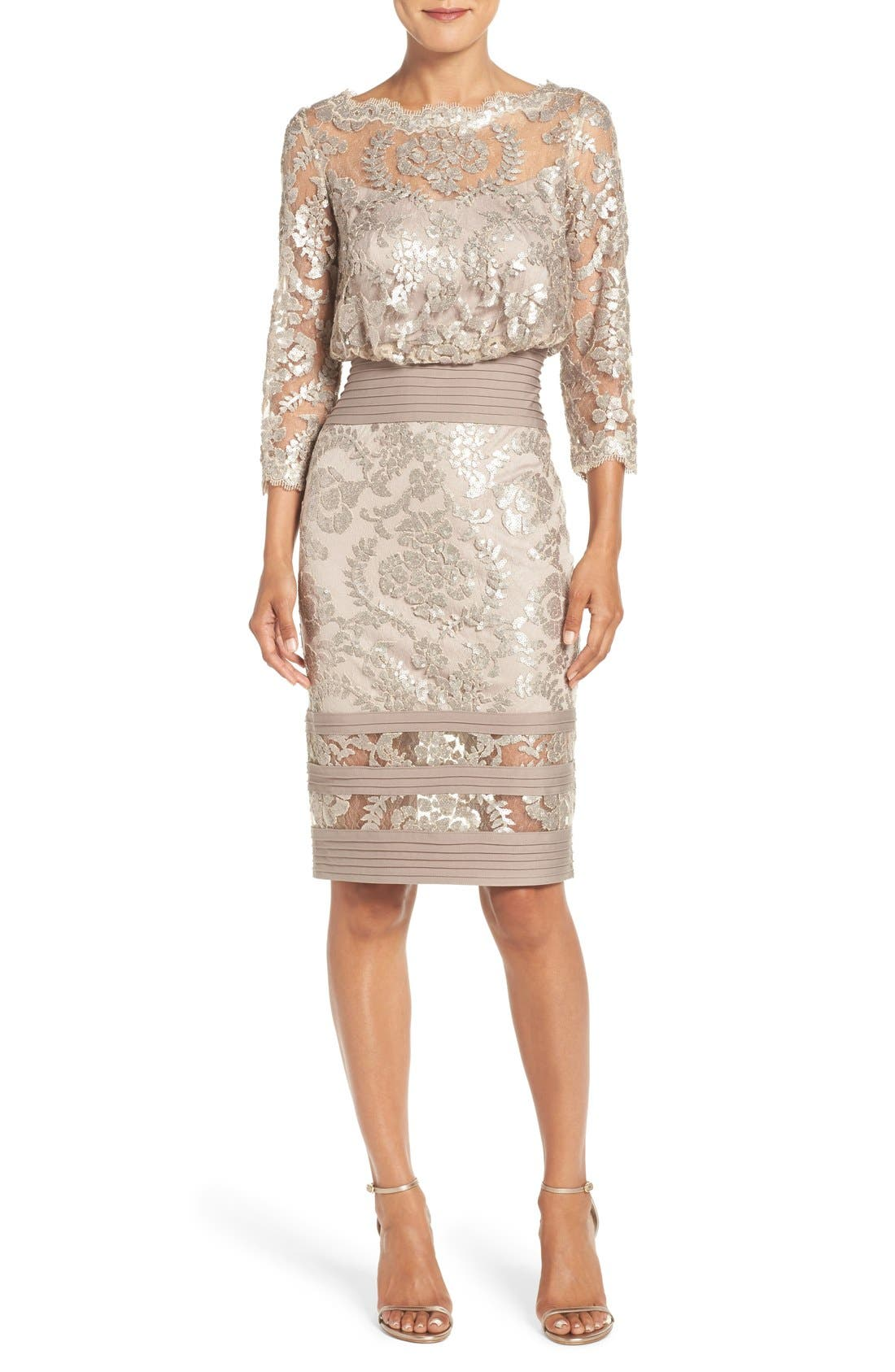 Alternate Image 1 Selected - Tadashi Shoji Sequin Lace Blouson Dress