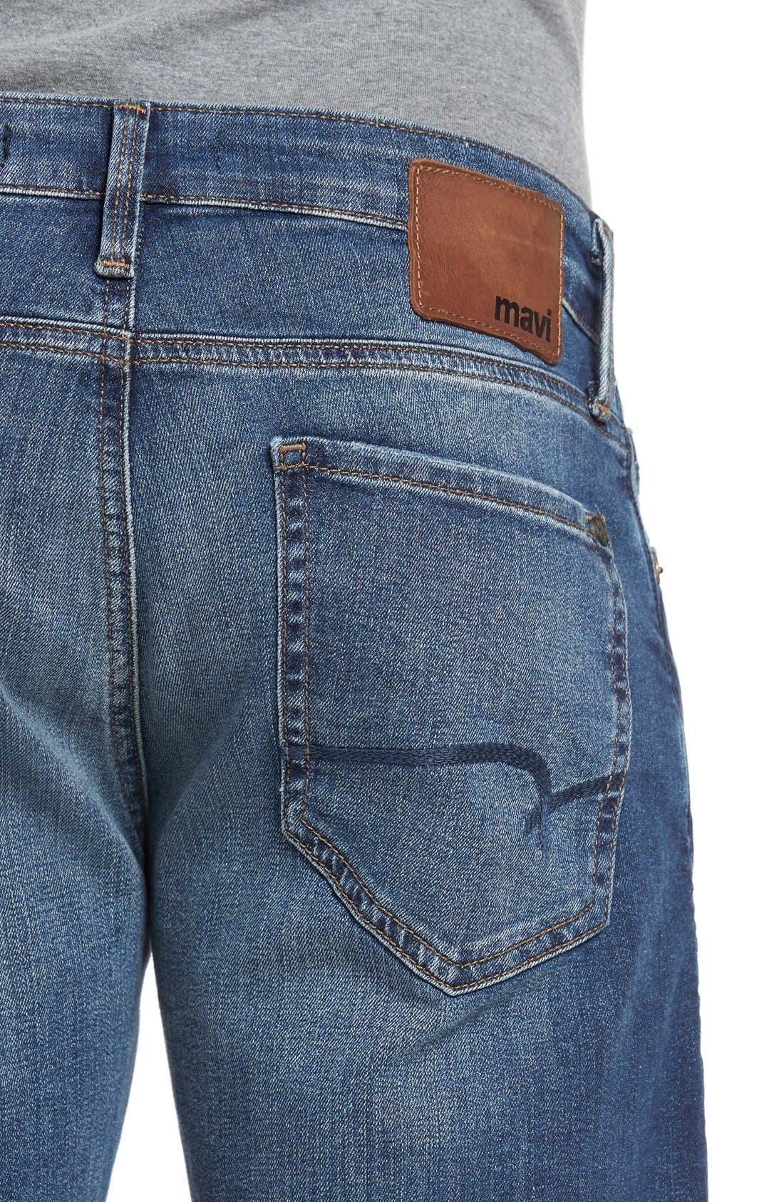 Alternate Image 4  - Mavi Jeans 'Zach' Straight Leg Jeans (Mid Blue)