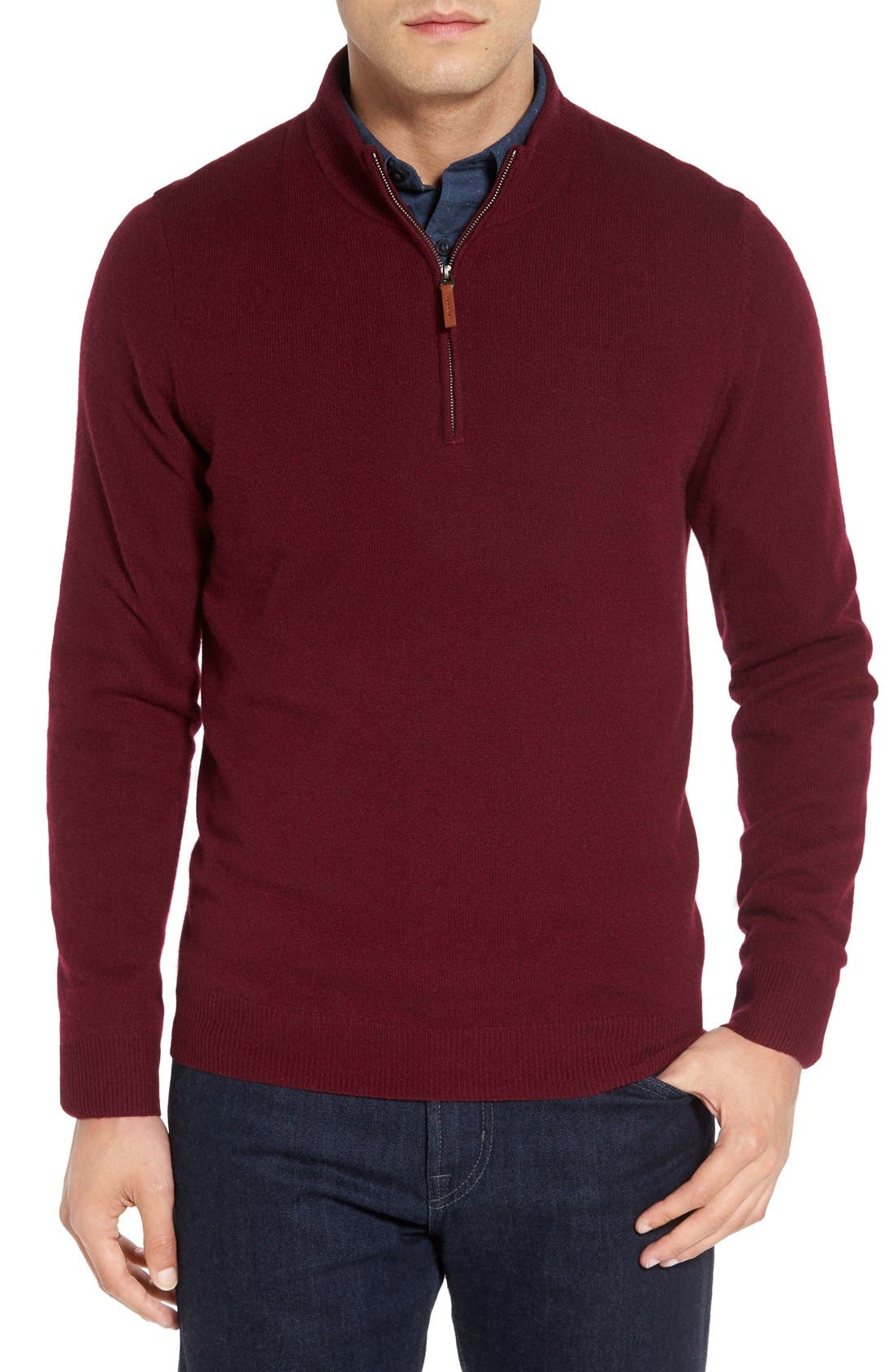 Alternate Image 1 Selected - Nordstrom Men's Shop Regular Fit Cashmere Quarter Zip Pullover (Regular & Tall)