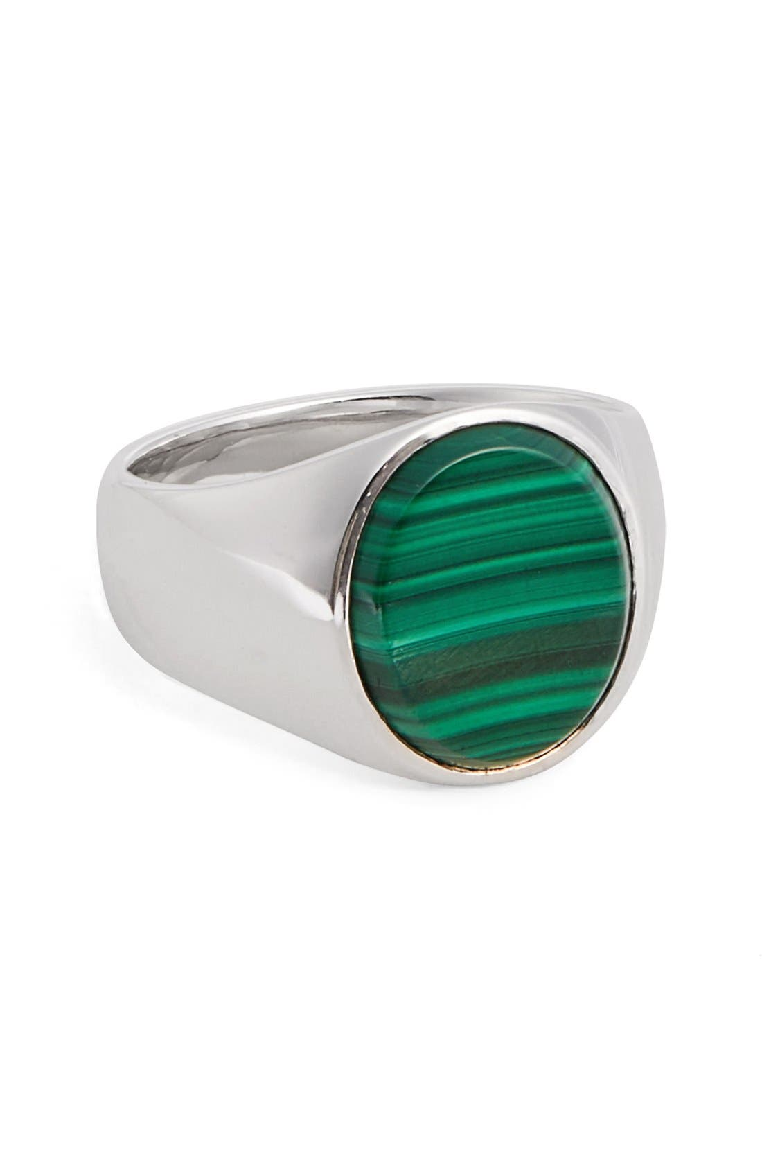 'Patriot Collection' Oval Malachite Signet Ring,                             Main thumbnail 1, color,                             Silver