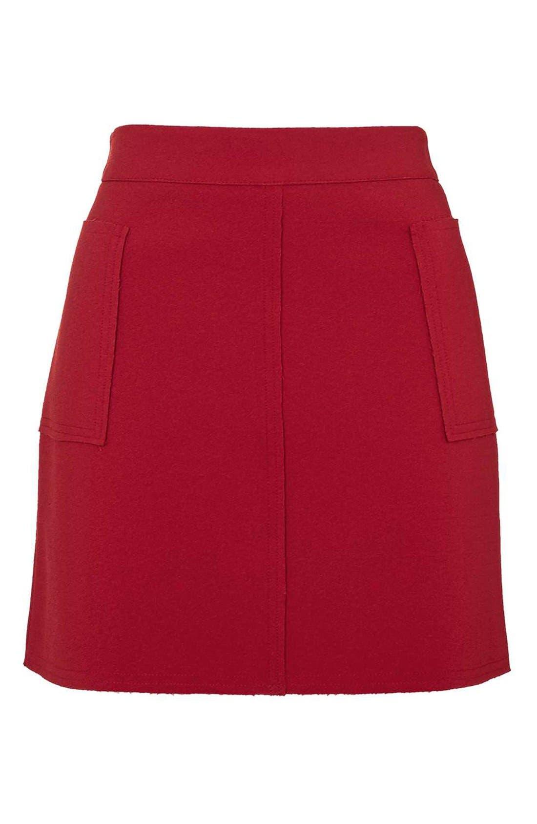 Alternate Image 4  - Topshop Patch Pocket Crepe Miniskirt