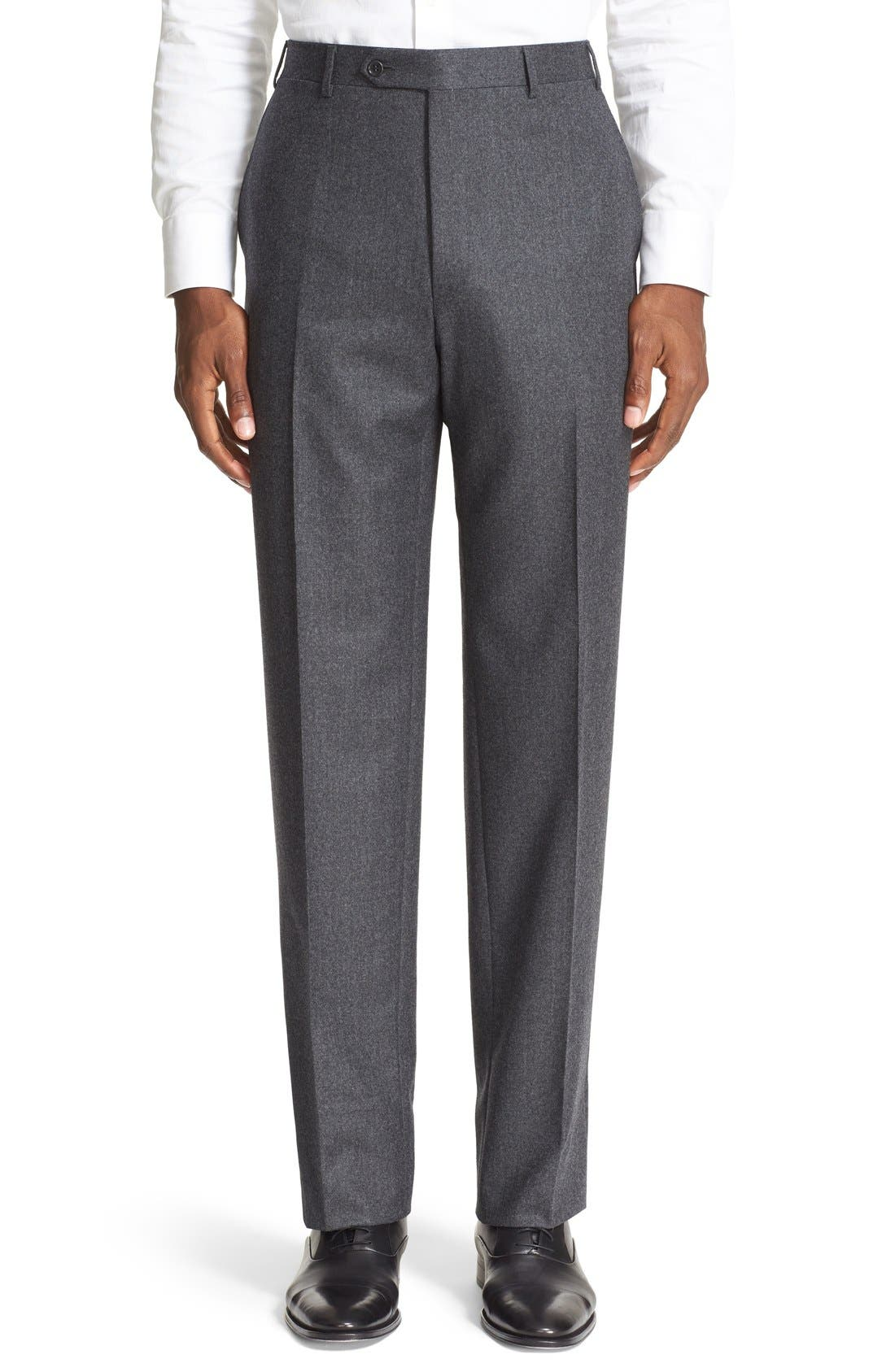 Canali Flat Front Solid Wool Trousers
