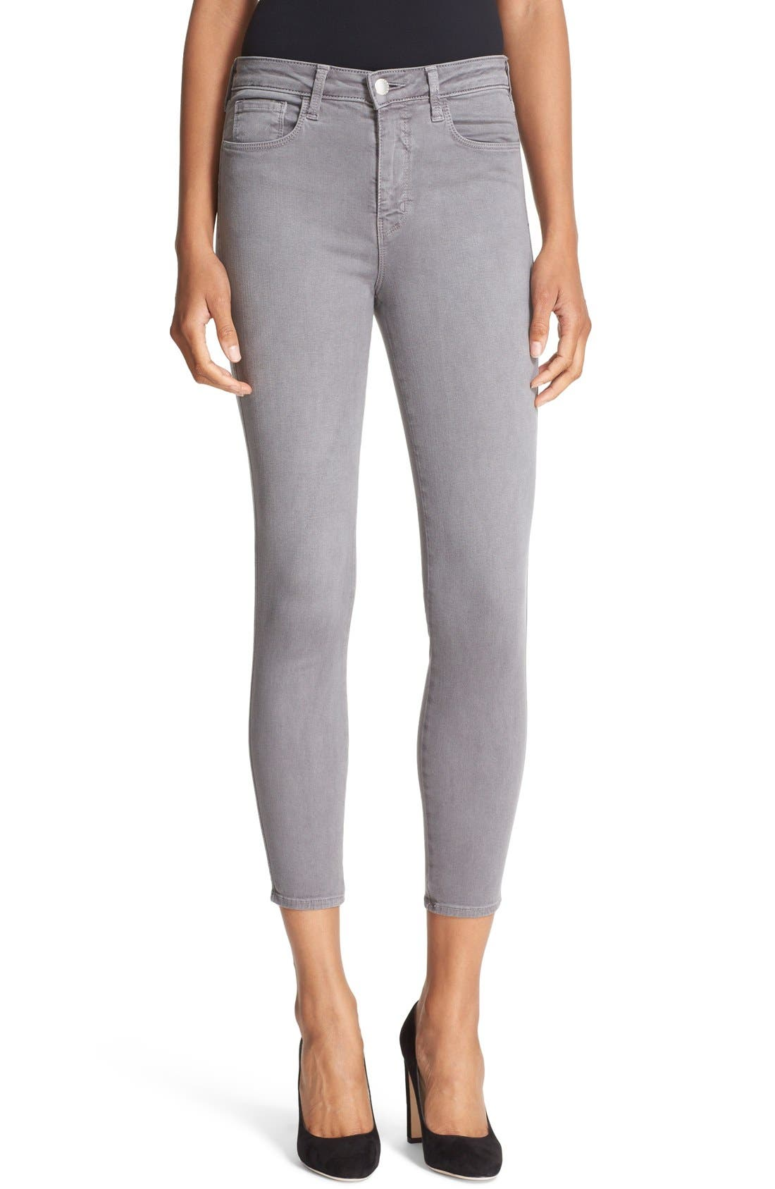 High Waist Skinny Ankle Jeans,                             Main thumbnail 1, color,                             Gris