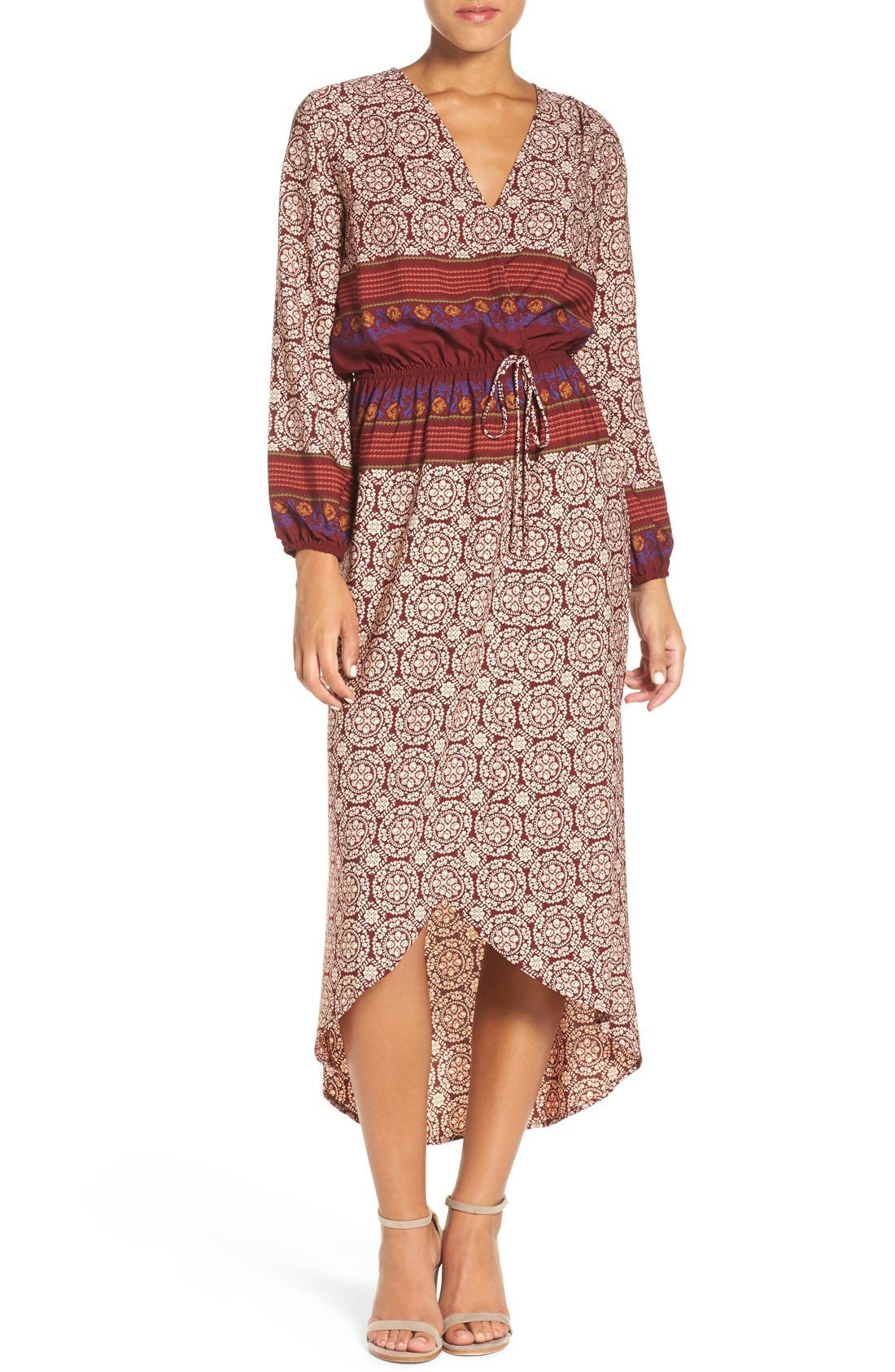 'Nora' Print High/Low Maxi Dress,                         Main,                         color, Nora Wine