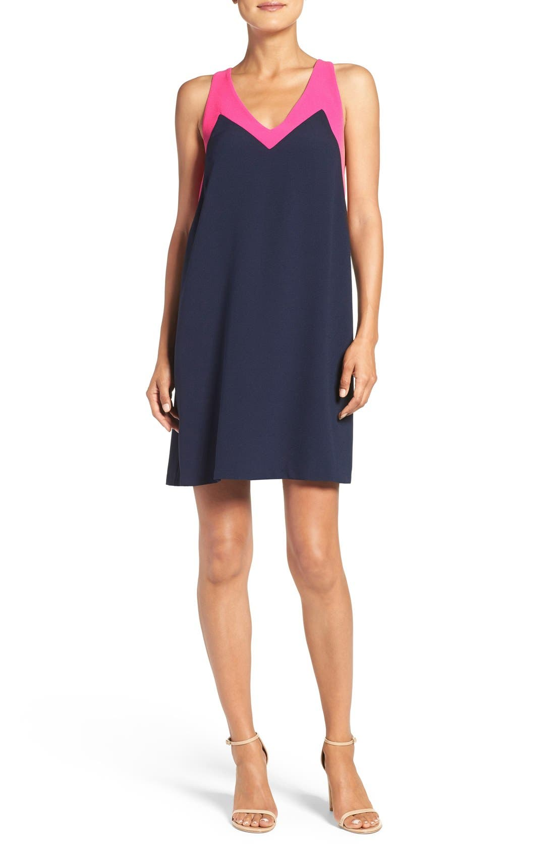Katy Colorblock Shift Dress,                             Main thumbnail 1, color,                             Navy/ Pink