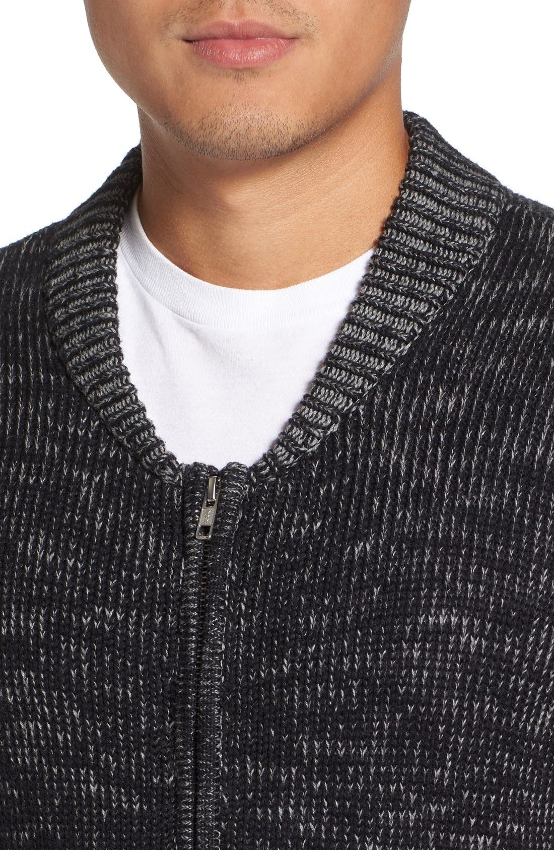 Two-Way Zip Mélange Sweater,                             Alternate thumbnail 4, color,                             Black/ Heather Grey