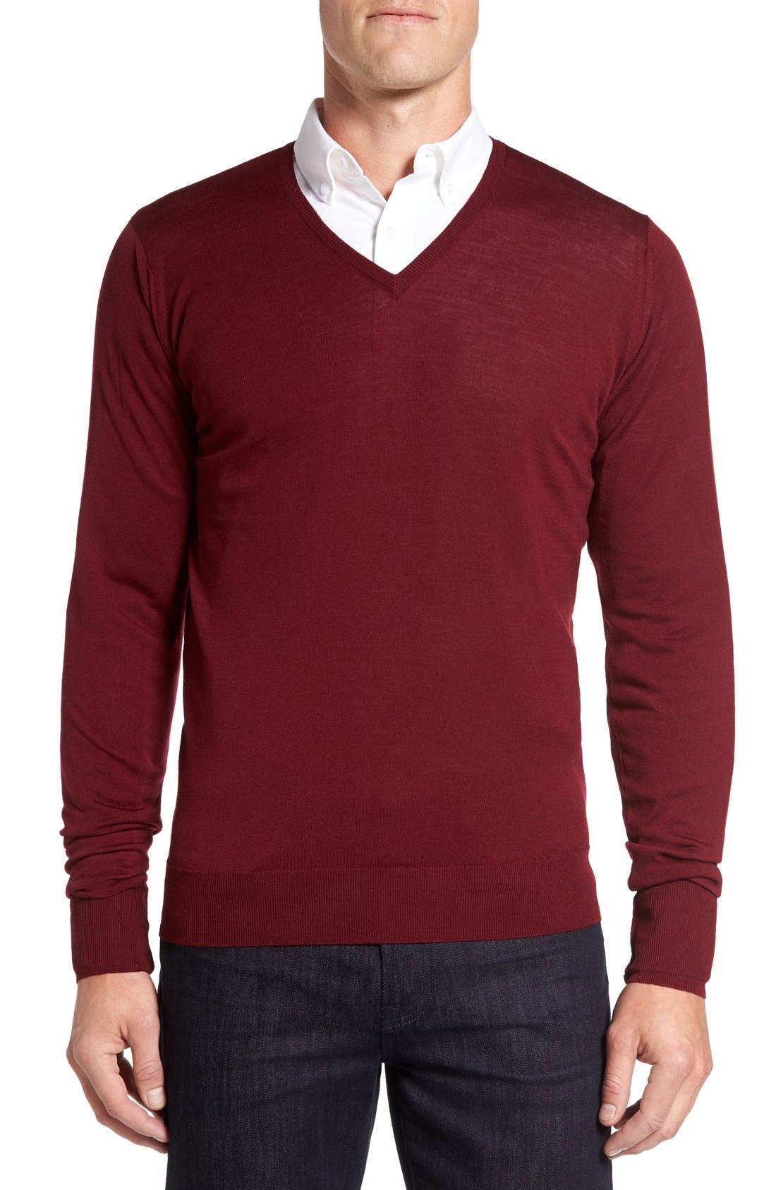 Main Image - John Smedley 'Bobby' Easy Fit V Neck Wool Sweater