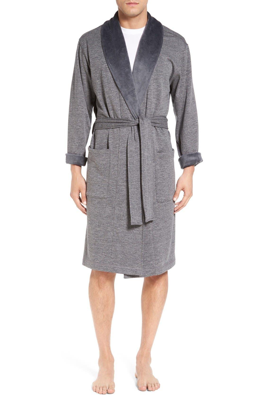 'Robinson' Stretch Cotton Robe,                             Main thumbnail 1, color,                             Granite Heather