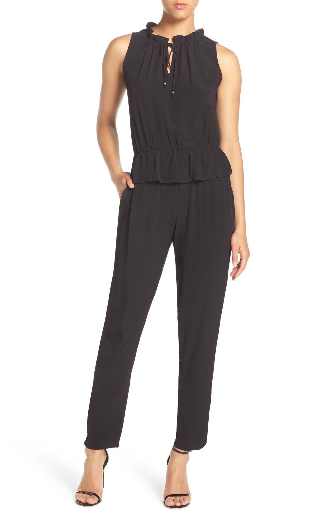 Sleeveless Peplum Jumpsuit,                         Main,                         color, Black