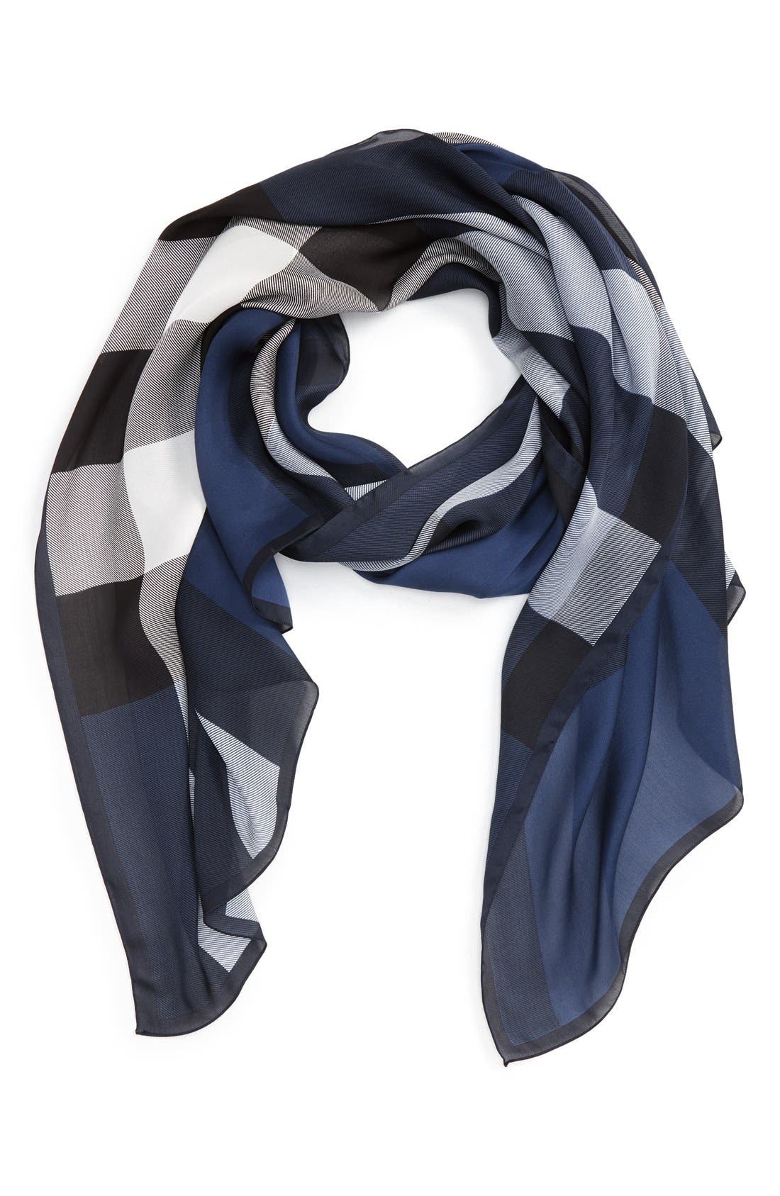 Main Image - Burberry 'Ultra Mega Check' Washed Mulberry Silk Scarf