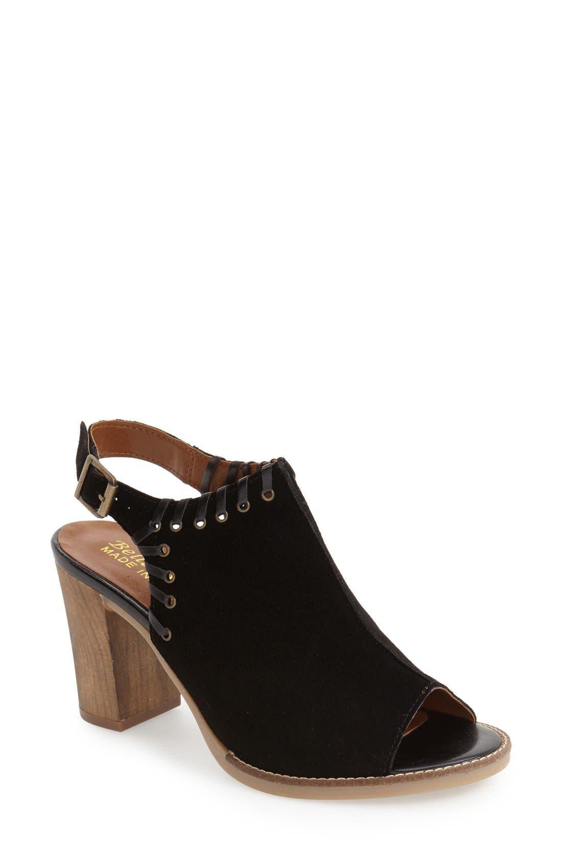 'Ora' Block Heel Slingback Sandal,                             Main thumbnail 1, color,                             Black Suede