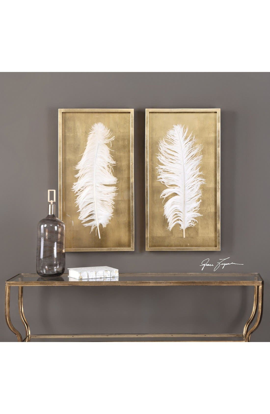 Feather Shadow Boxes,                             Alternate thumbnail 2, color,                             White