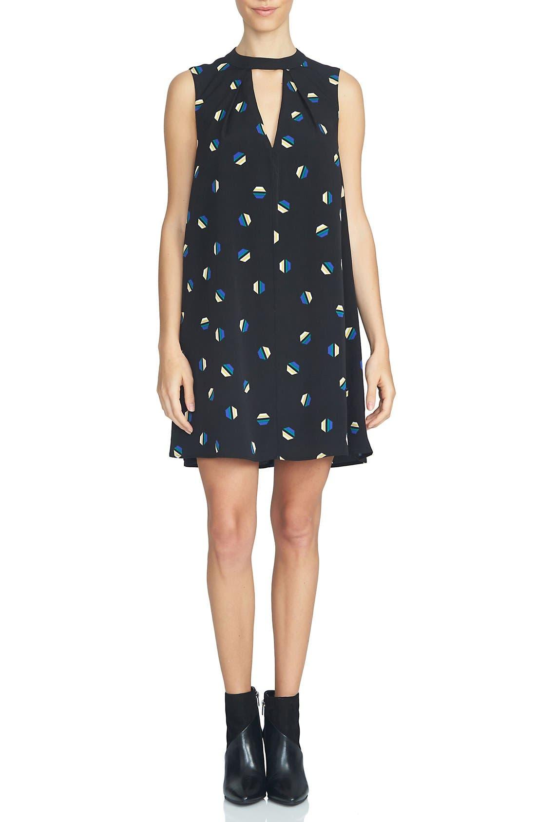 Main Image - 1.STATE Print Gathered Neck Shift Dress