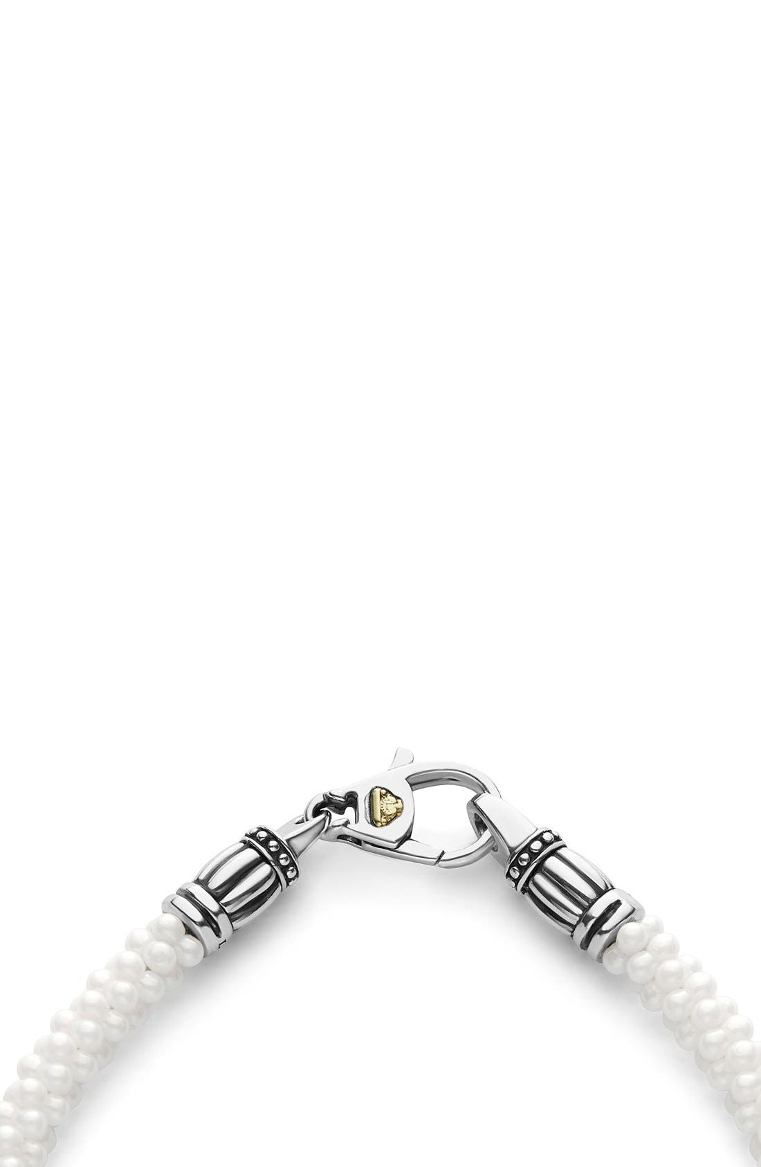 'Black & White Caviar' Bracelet,                             Alternate thumbnail 3, color,                             White/ Gold
