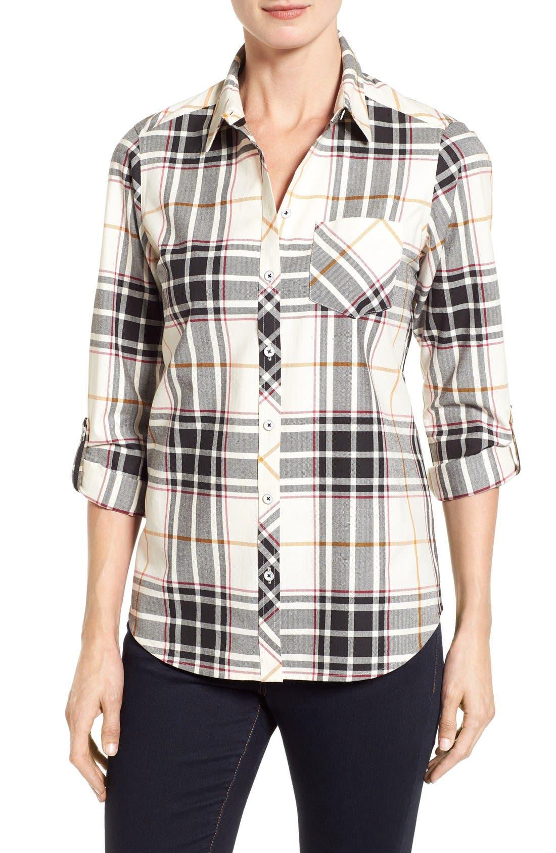 Main Image - Foxcroft Herringbone Plaid Roll Sleeve Shirt (Regular & Petite)