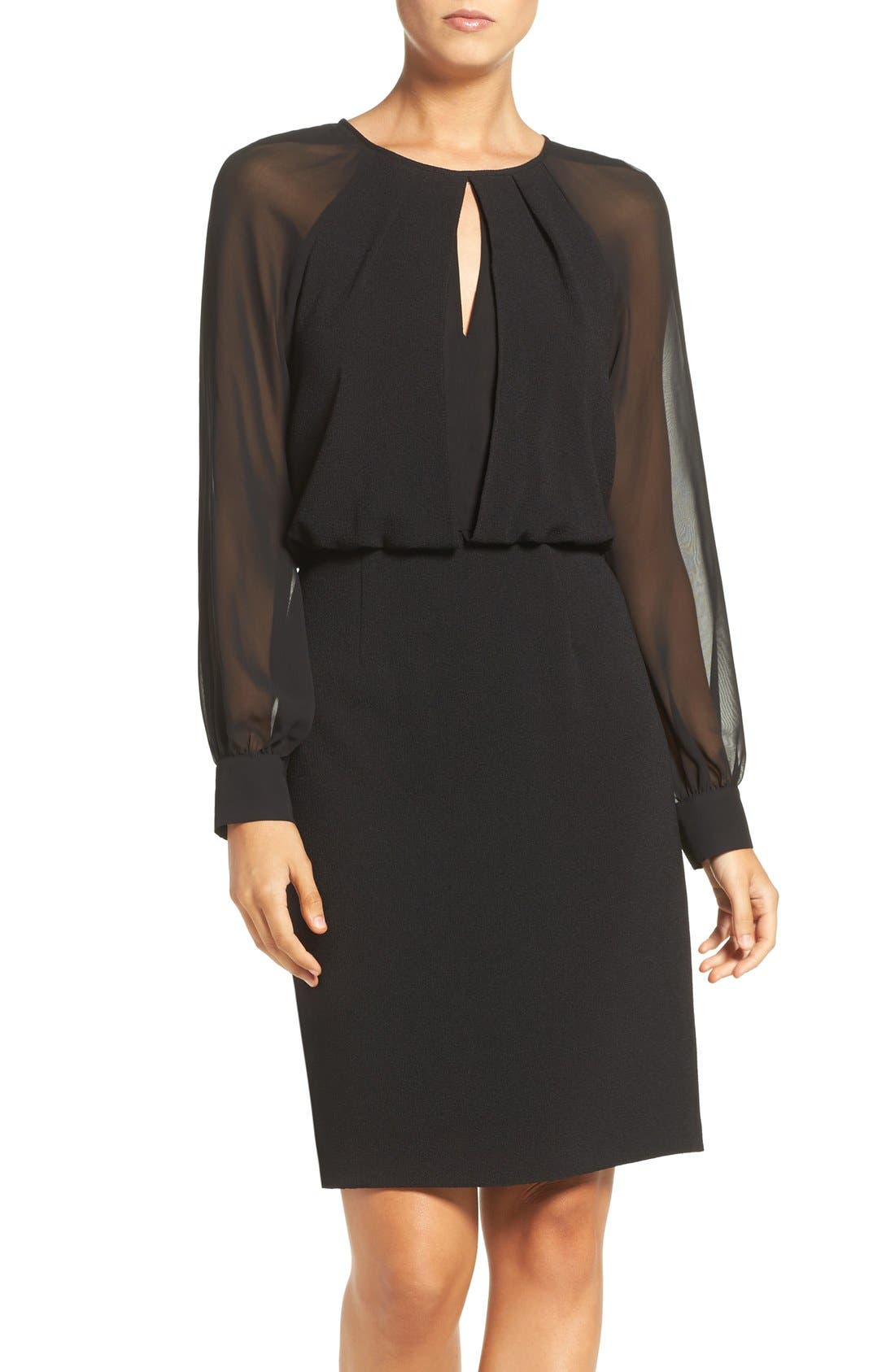 Illusion Sleeve Blouson Dress,                         Main,                         color, Black