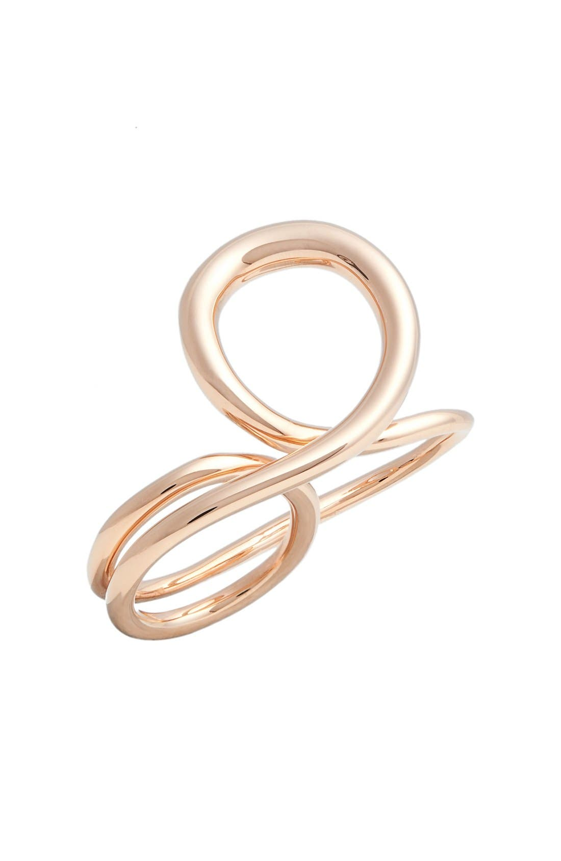 'Gamma Trip' Vermeil Two-Finger Ring,                             Main thumbnail 1, color,                             Pink Vermeil