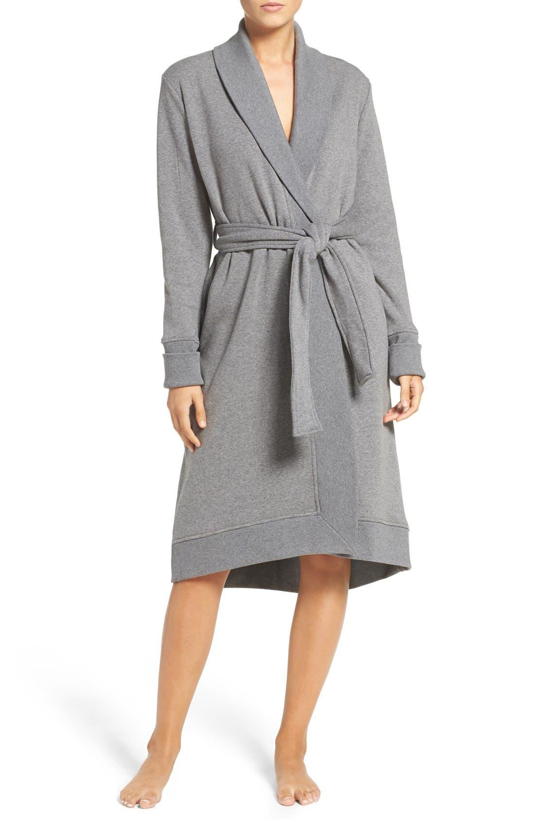 'Karoline' Fleece Robe,                             Main thumbnail 1, color,                             Charcoal Heather