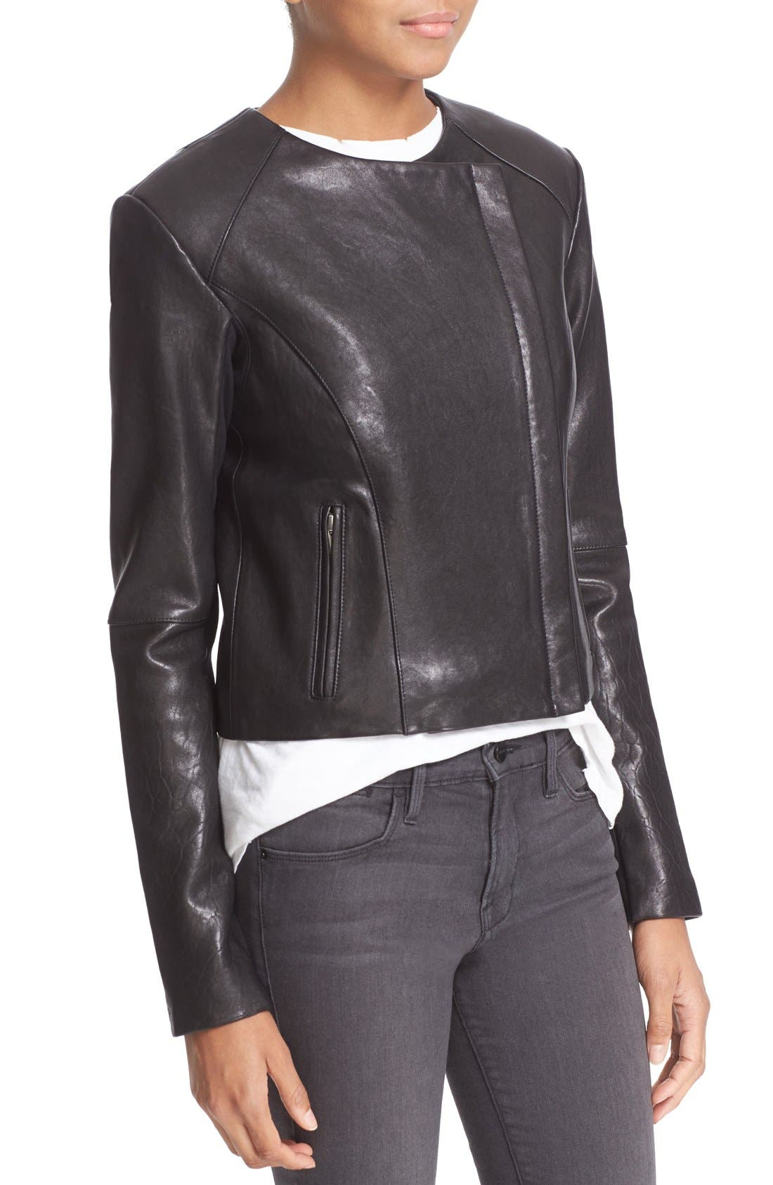 'Dali' Lambskin Leather Jacket,                             Alternate thumbnail 4, color,                             Black