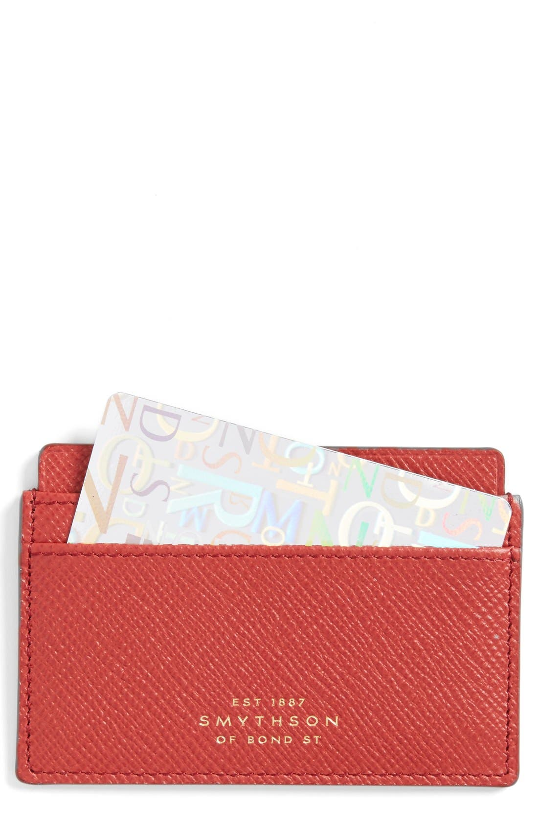 'Panama' Leather Card Case,                             Main thumbnail 1, color,                             Red