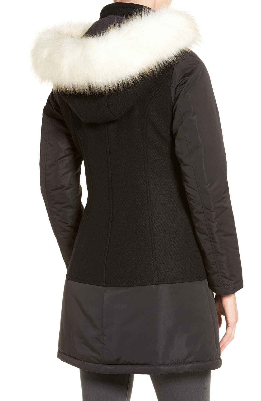 Alternate Image 2  - 1 Madison Faux Fur Trim Mixed Media Drop Waist Coat