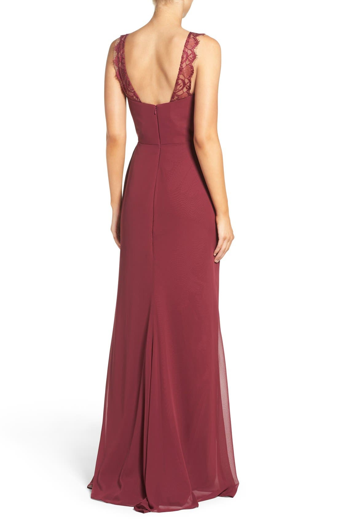 Lace Strap Gathered Chiffon Gown,                             Alternate thumbnail 2, color,                             Burgundy/ Burgundy