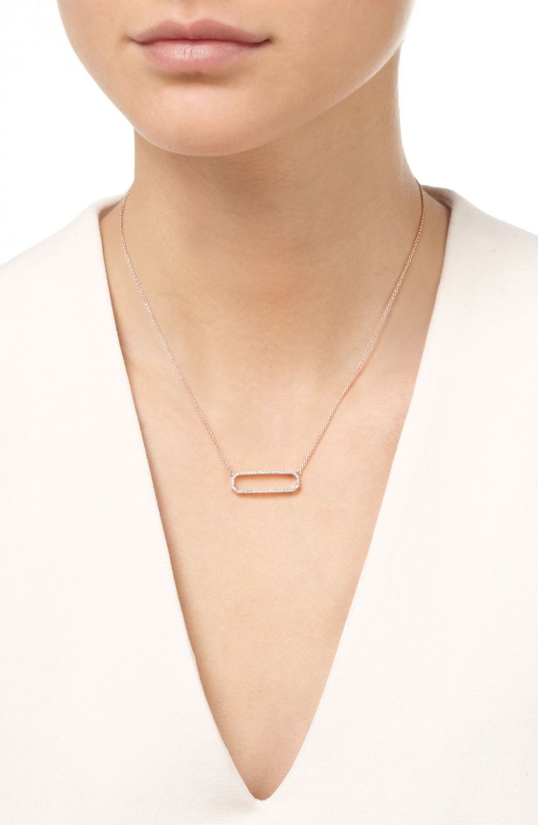 'Naida' Open Rectangle Diamond Pendant Necklace,                             Alternate thumbnail 2, color,                             Rose Gold