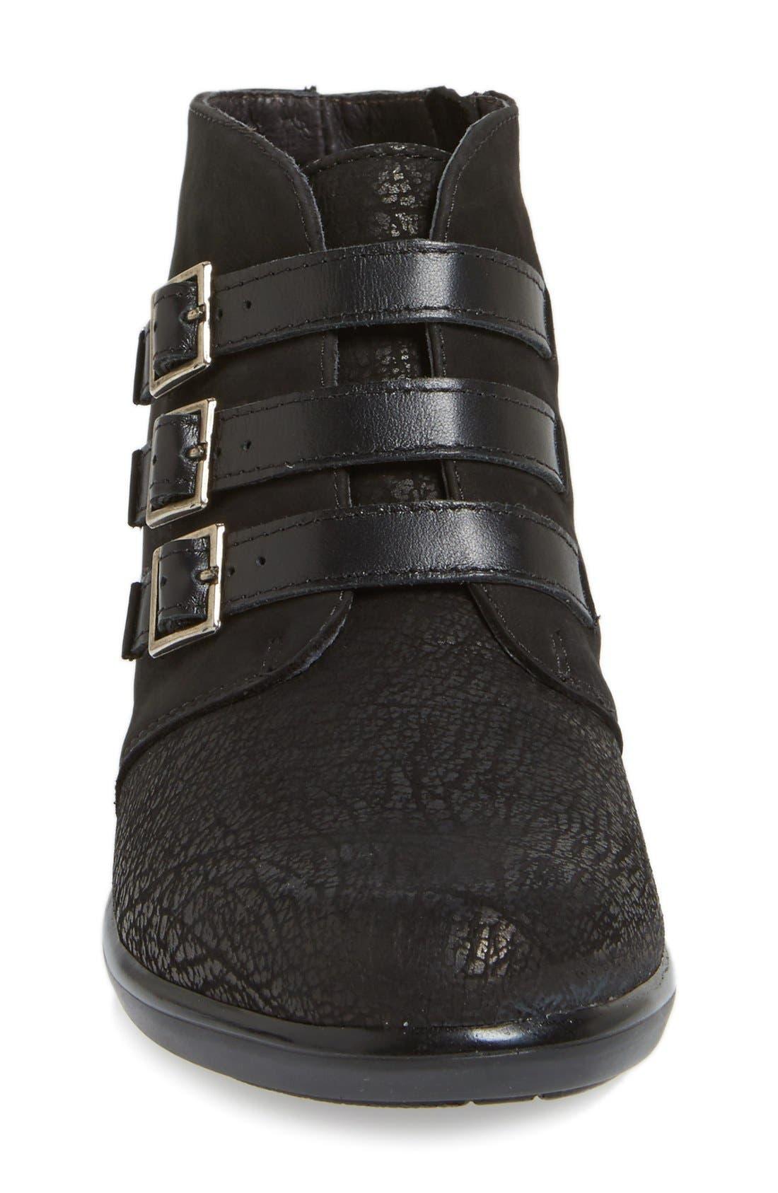 'Calima' Bootie,                             Alternate thumbnail 3, color,                             Black Crackle Leather