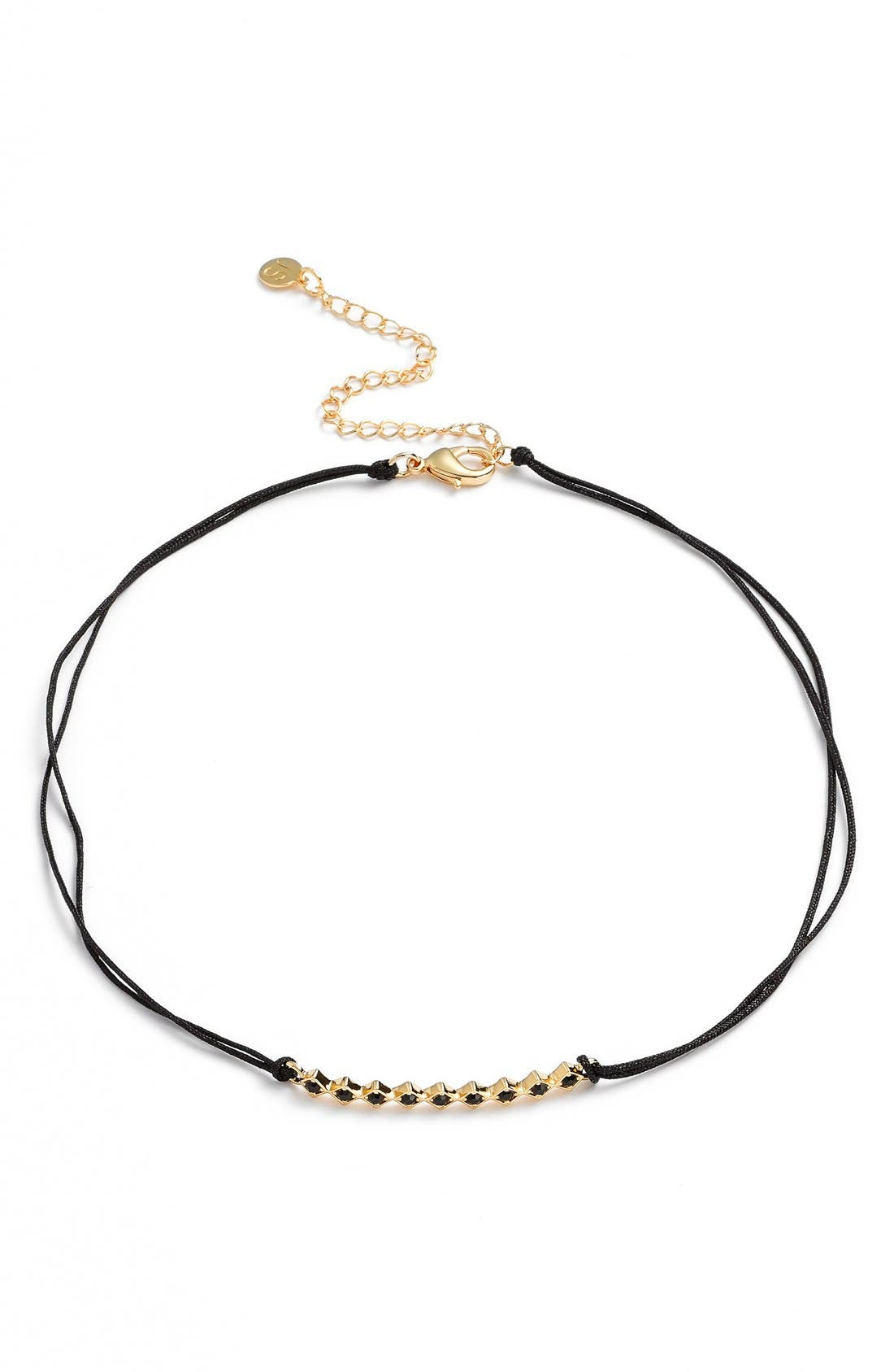 'Tulum' Crystal Bar Pendant Choker,                             Alternate thumbnail 2, color,                             Black/ Yellow Gold/ Black