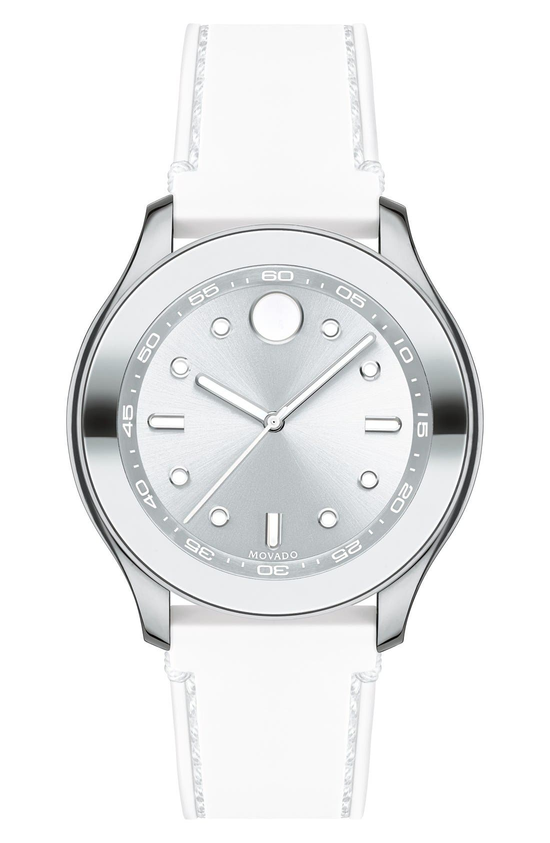 Movado 'Bold' Silicone Strap Watch, 38mm