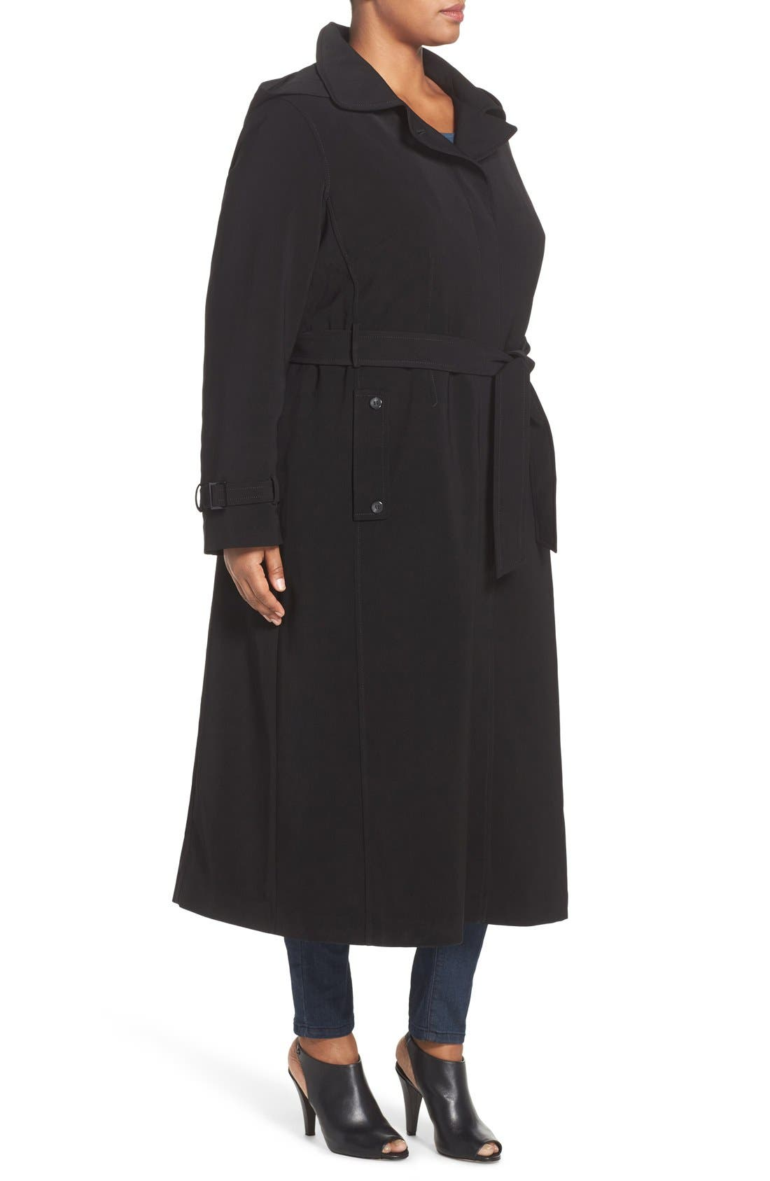 Alternate Image 3  - Gallery Long Nepage Raincoat with Detachable Hood & Liner (Plus Size)
