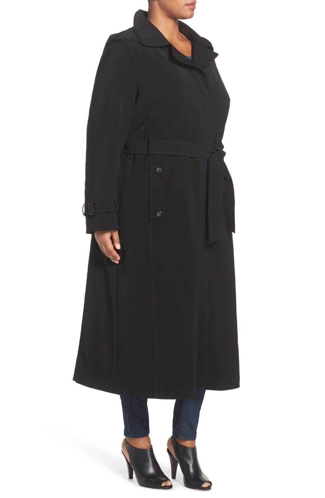 Long Nepage Raincoat with Detachable Hood & Liner,                             Alternate thumbnail 3, color,                             Black