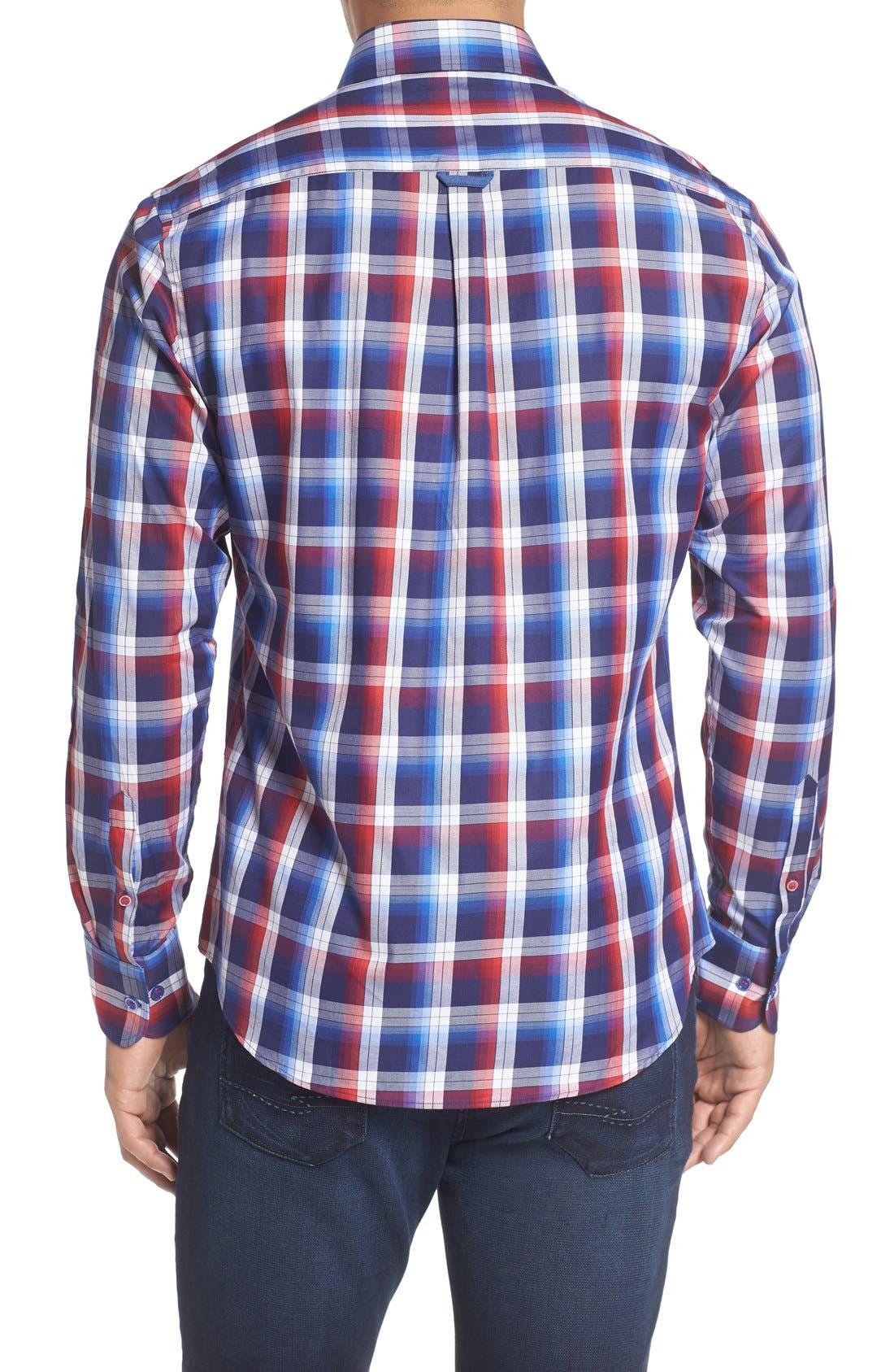 Slim Fit Plaid Sport Shirt,                             Alternate thumbnail 2, color,                             Red