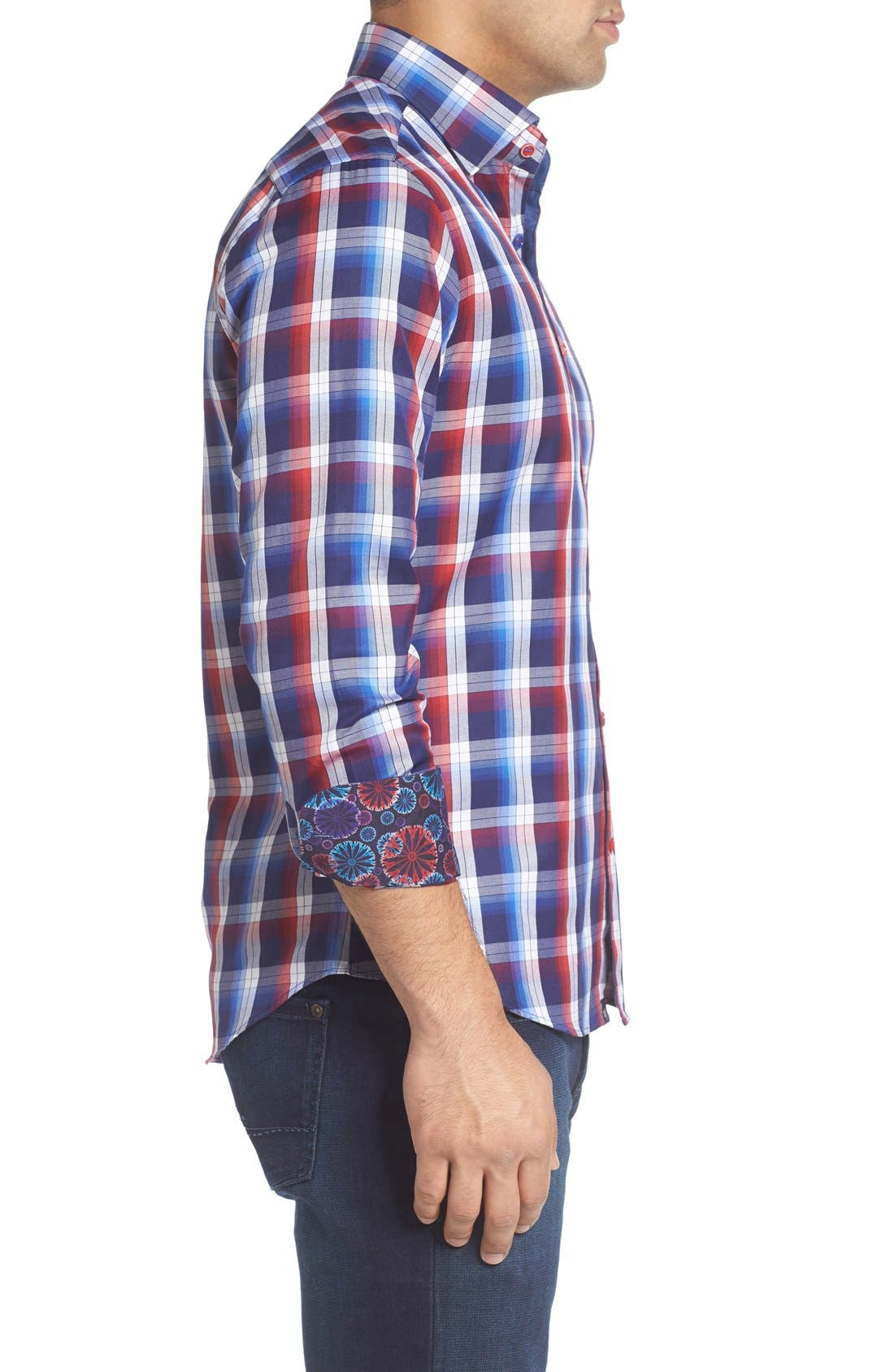 Slim Fit Plaid Sport Shirt,                             Alternate thumbnail 3, color,                             Red