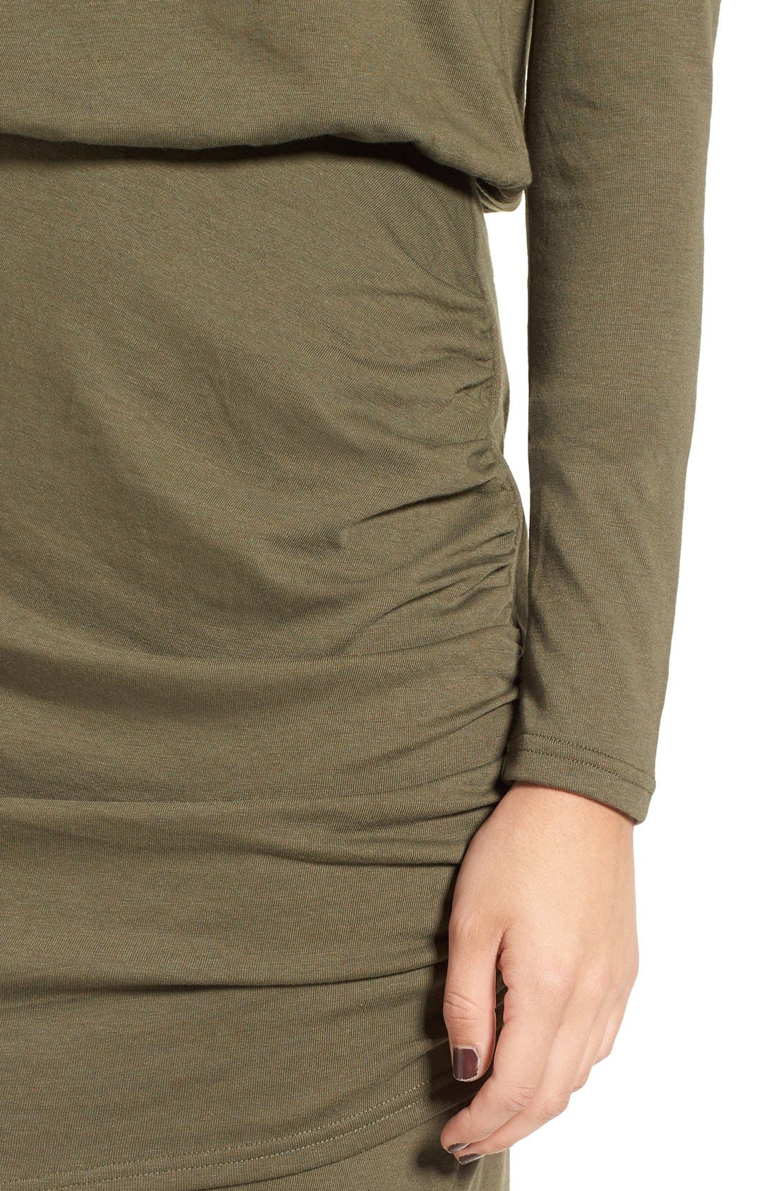 Blouson Body-Con Dress,                             Alternate thumbnail 4, color,                             Olive Sarma