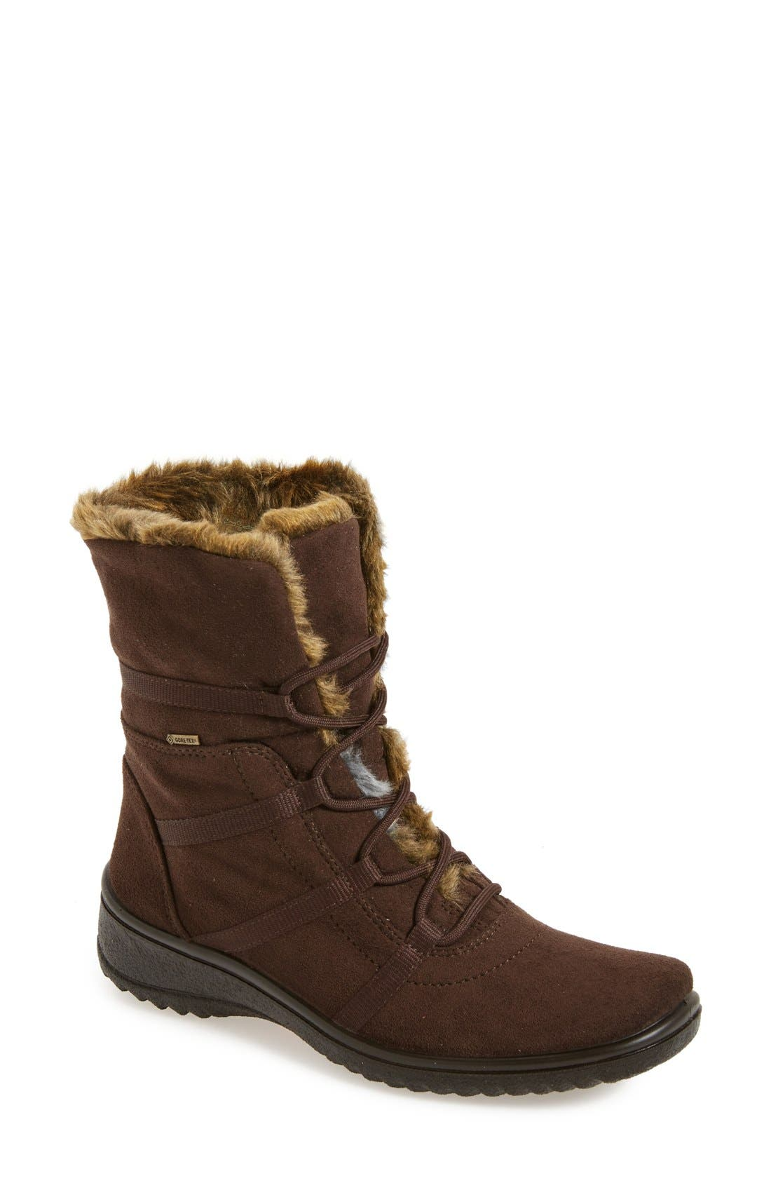 'Magaly' Waterproof Gore-Tex<sup>®</sup> Faux Fur Boot,                         Main,                         color, Brown Fabric