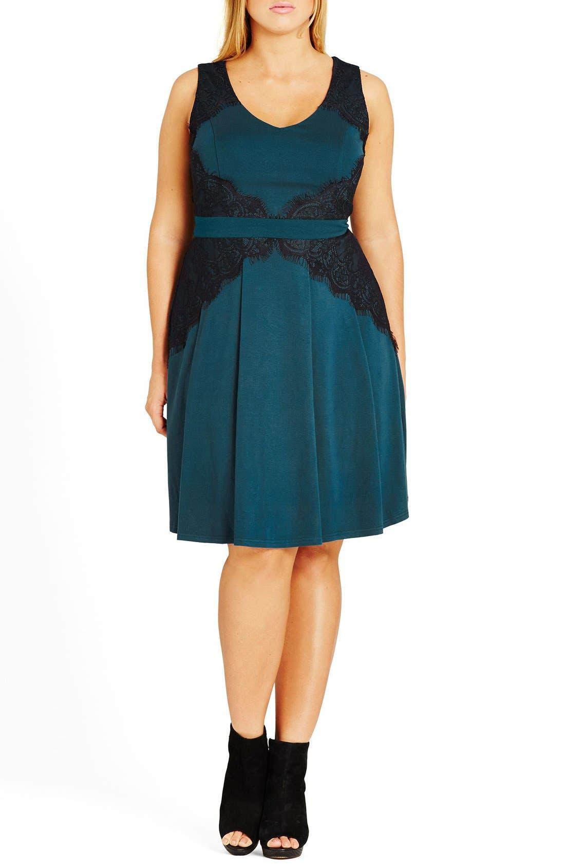 City Chic 'Lace Corset'  Fit & Flare Dress (Plus Size)