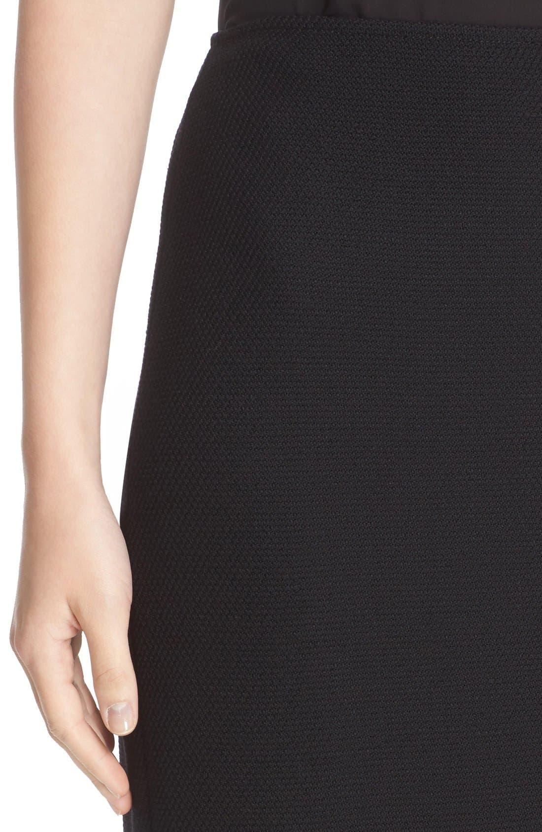 Micro Bouclé Pencil Skirt,                             Alternate thumbnail 7, color,                             Caviar