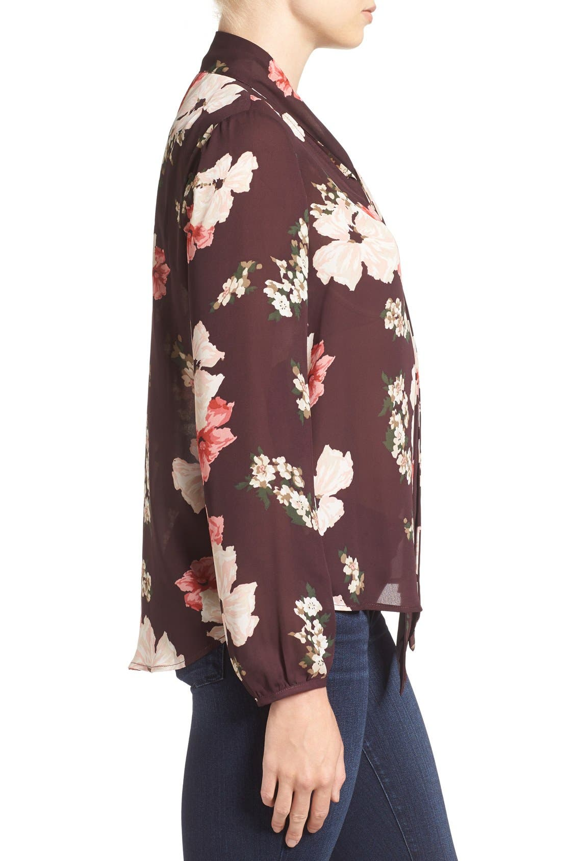 Alternate Image 3  - cupcakes and cashmere Floral Print Tie Neck Blouse