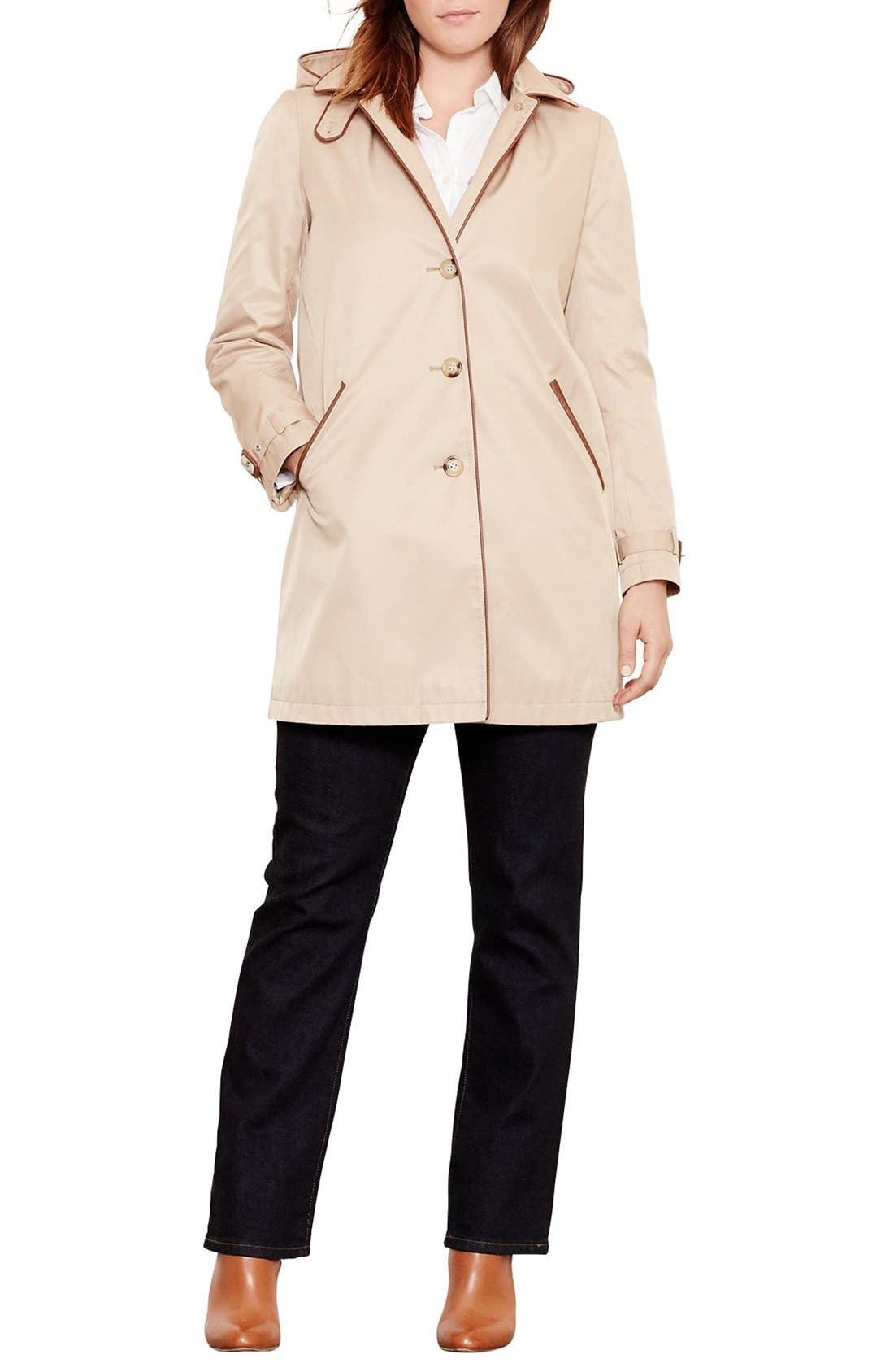Main Image - Lauren Ralph Lauren Faux Leather Trim Raincoat (Plus Size)