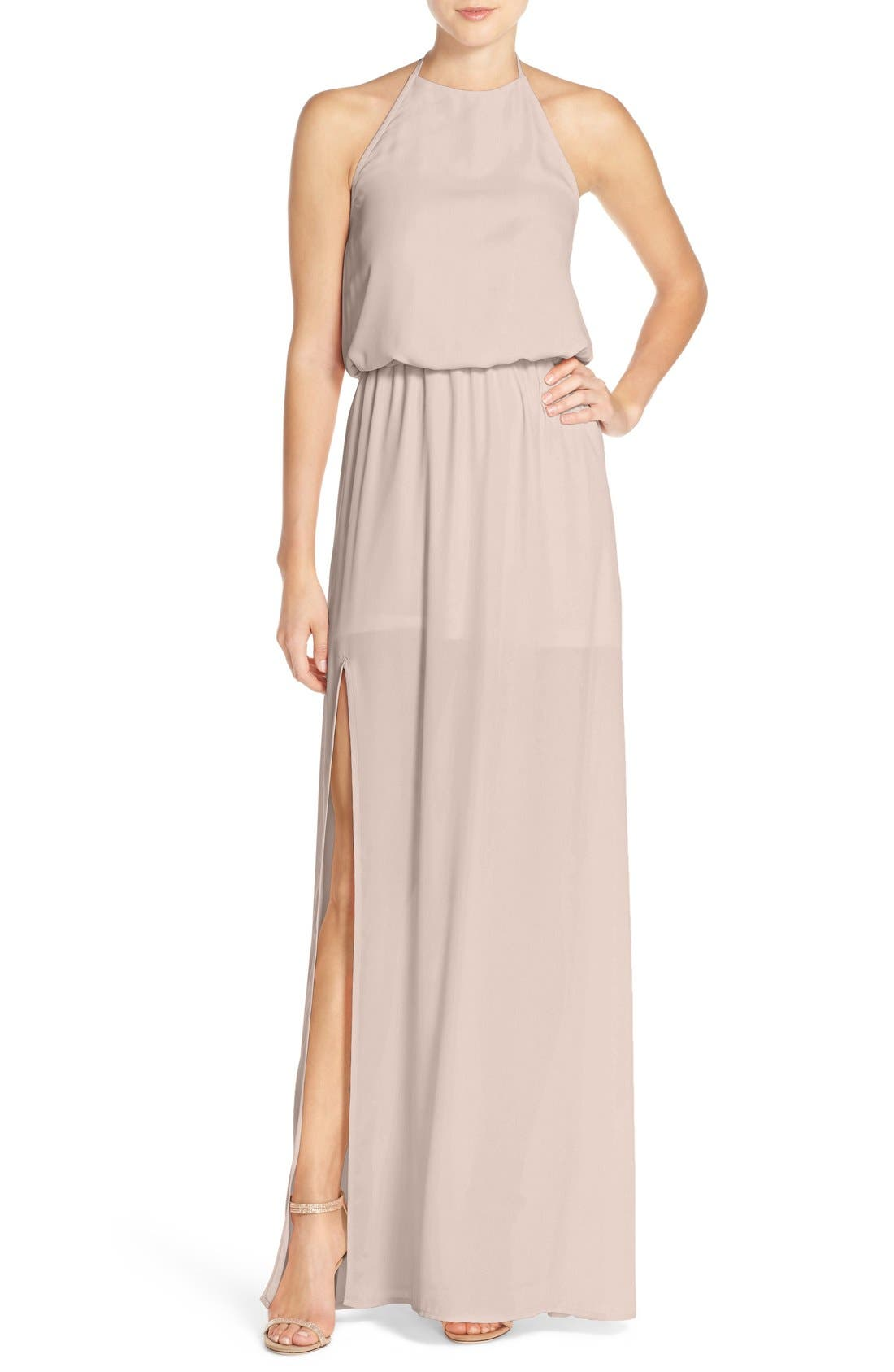 Heather Chiffon Halter Gown,                             Main thumbnail 1, color,                             Show Me The Ring Crisp