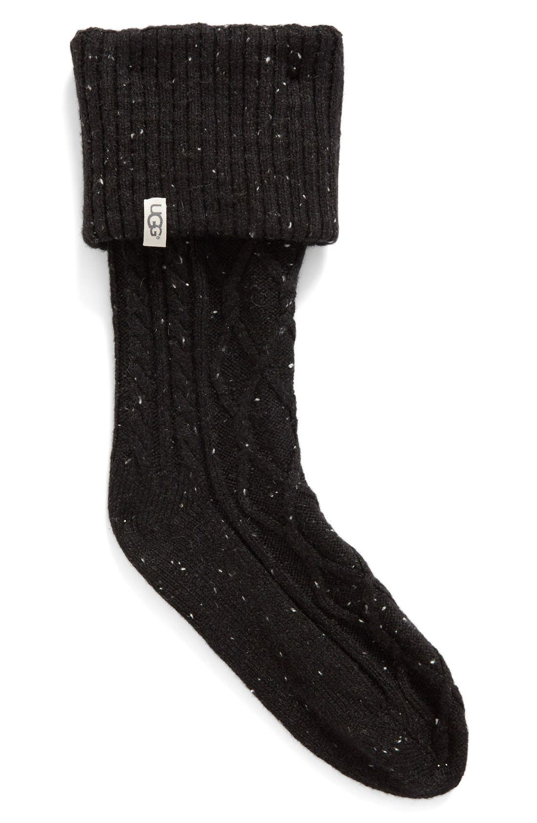 'Shaye' Tall Boot Socks,                             Main thumbnail 1, color,                             Black Fabric