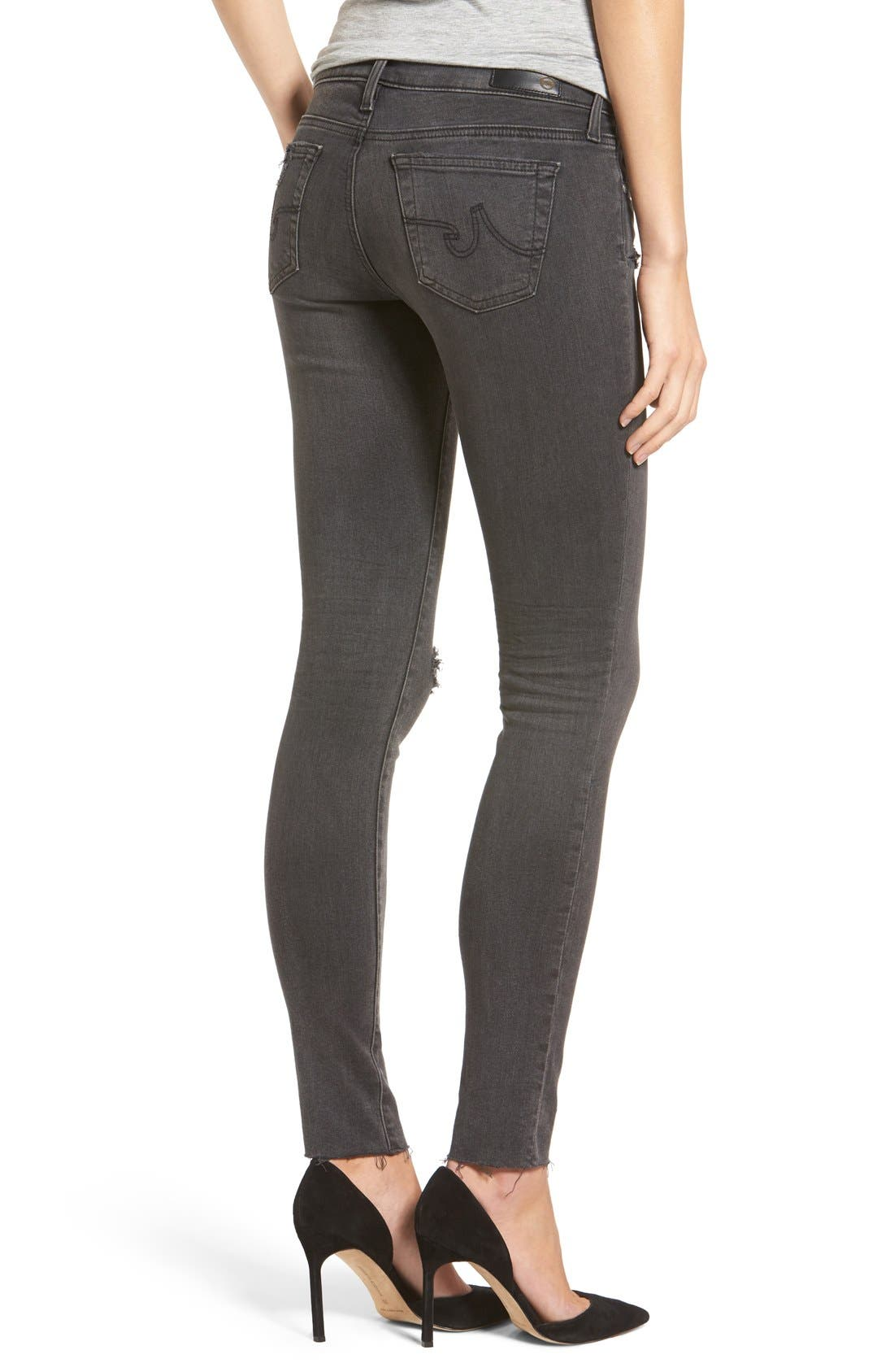 The Legging Ripped Super Skinny Jeans,                             Alternate thumbnail 2, color,                             10Y Well Worn