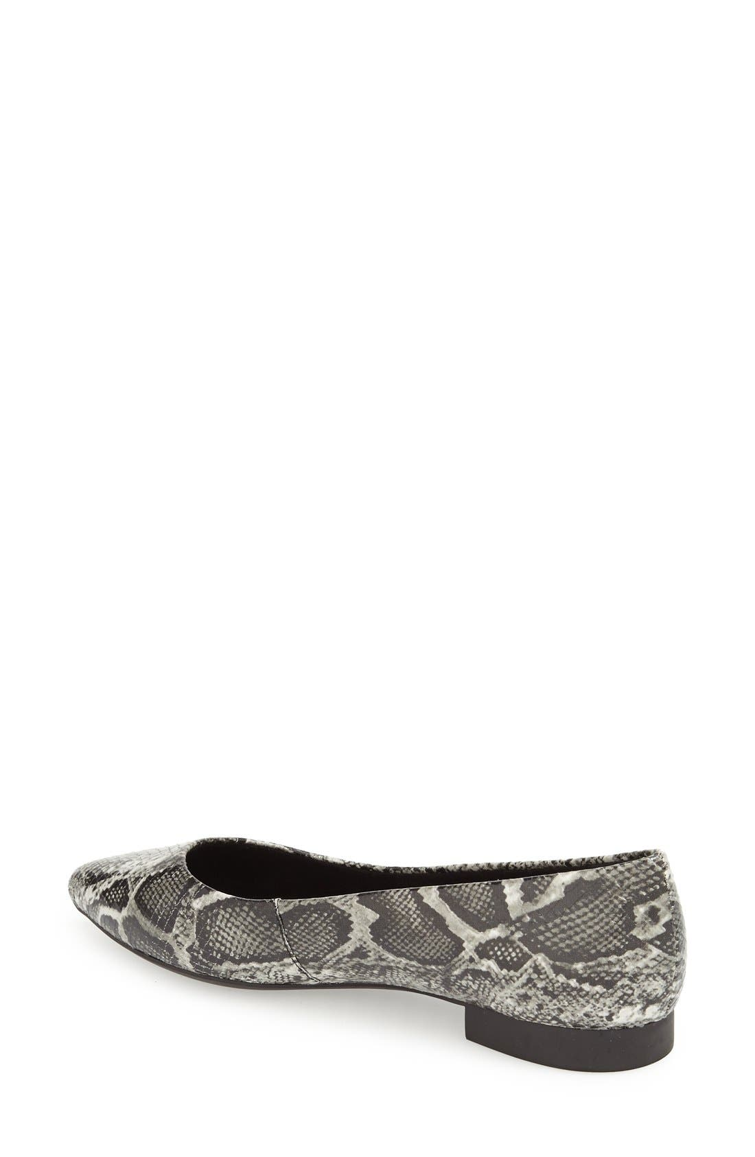 'Vivien' Pointy Toe Flat,                             Alternate thumbnail 2, color,                             Black/ White Snake Print