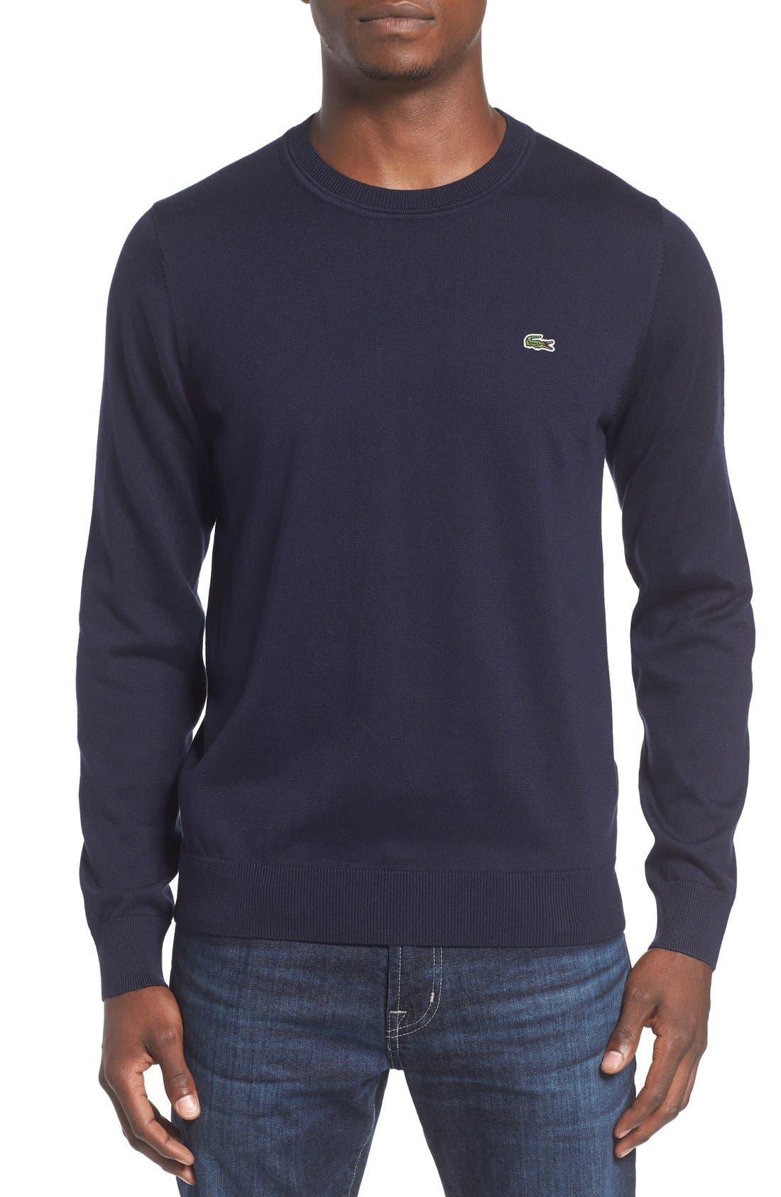 Jersey Knit Crewneck Sweater,                             Main thumbnail 1, color,                             Navy Blue