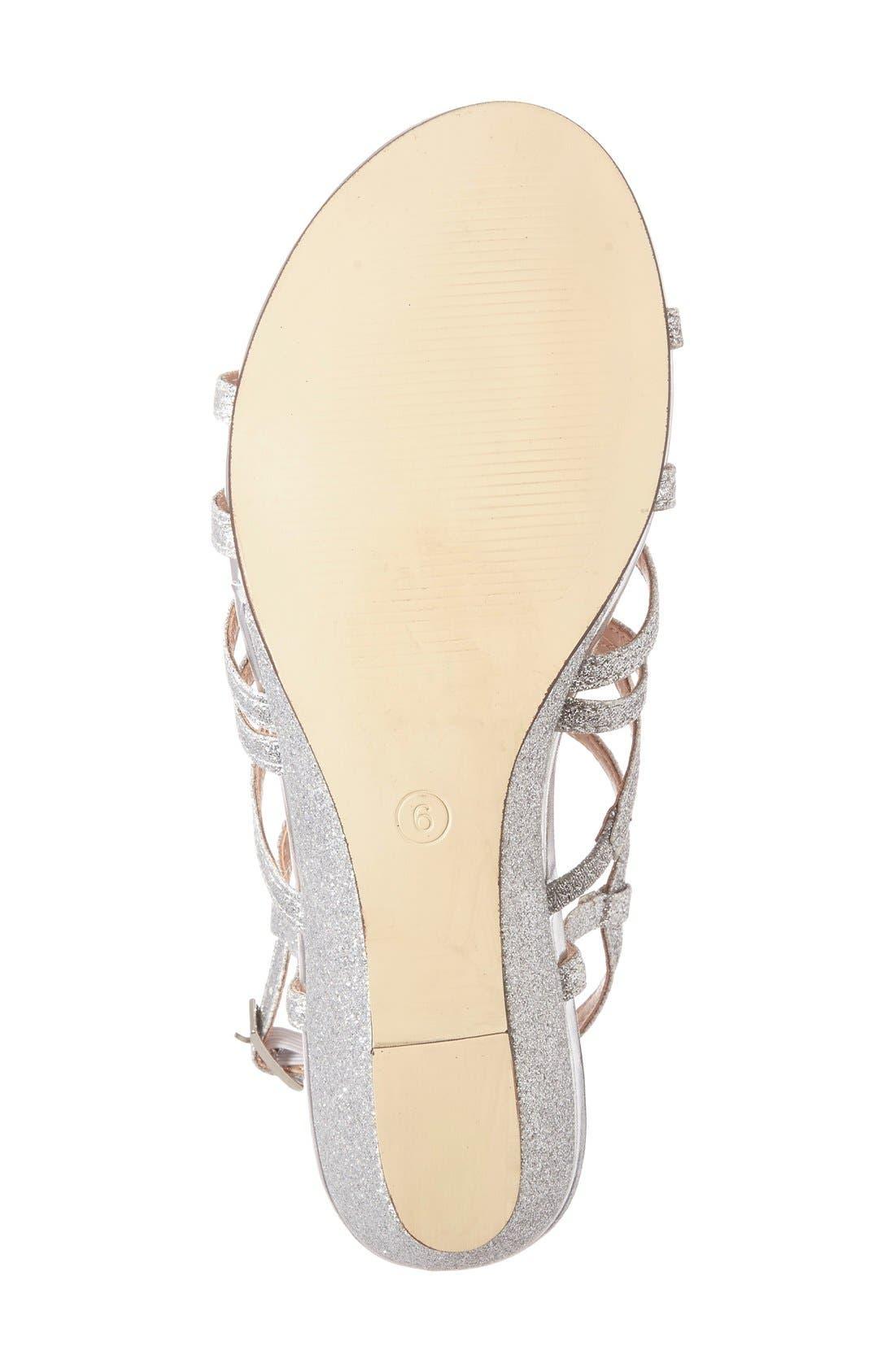 'Opulent' Wedge Sandal,                             Alternate thumbnail 4, color,                             Silver
