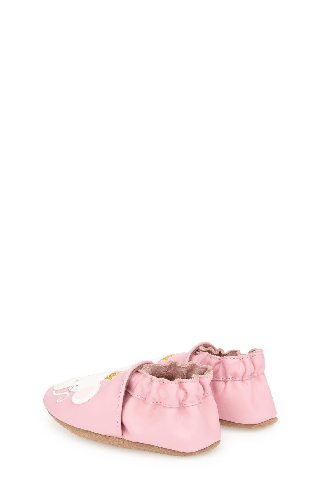 'Princess' Crib Shoe,                             Alternate thumbnail 2, color,                             Prism Pink Leather