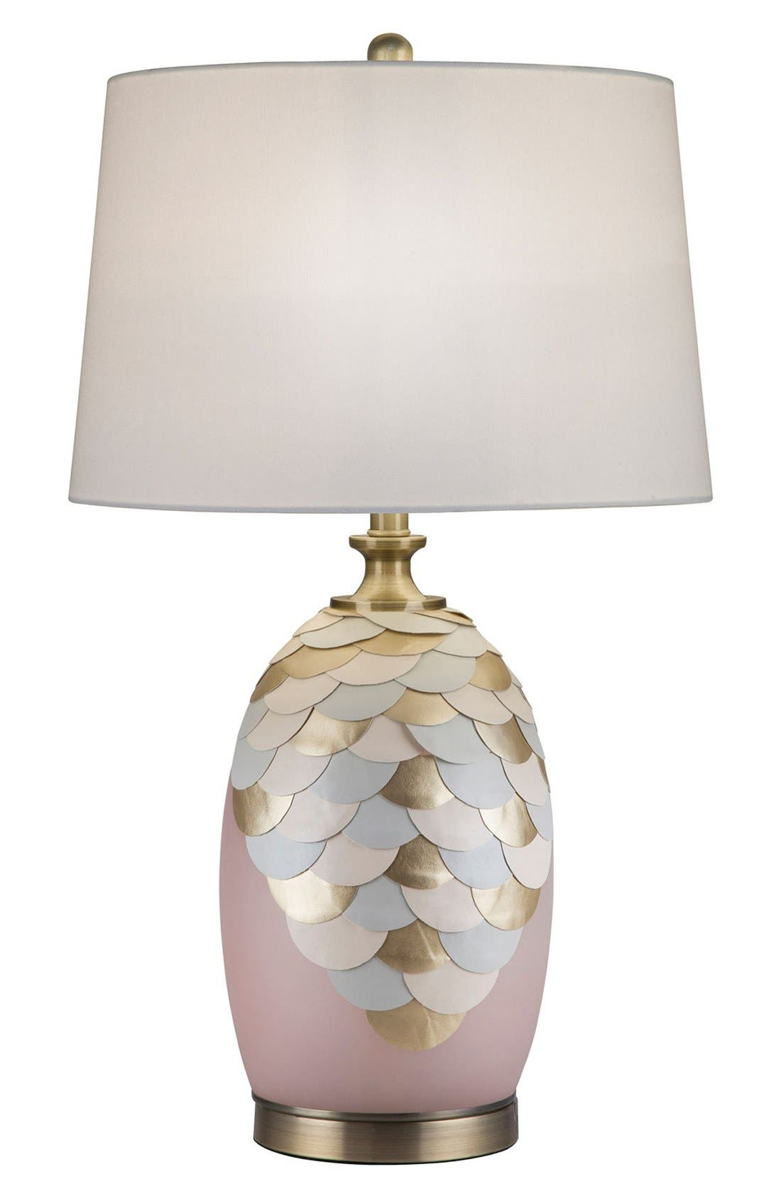 JAlexander Rose Quartz Table Lamp with Faux Leather & Brass Accents,                             Main thumbnail 1, color,                             Pink