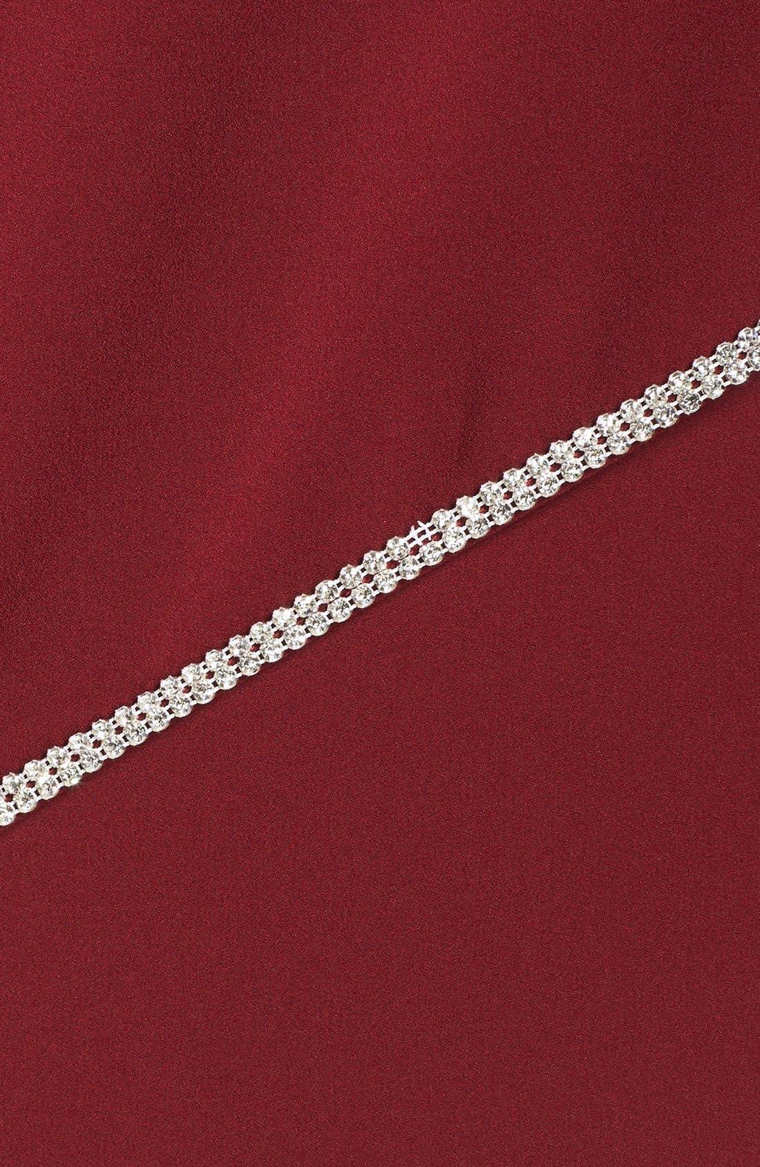 Embellished Overlay Sleeveless Crepe Column Gown,                             Alternate thumbnail 6, color,                             Merlot