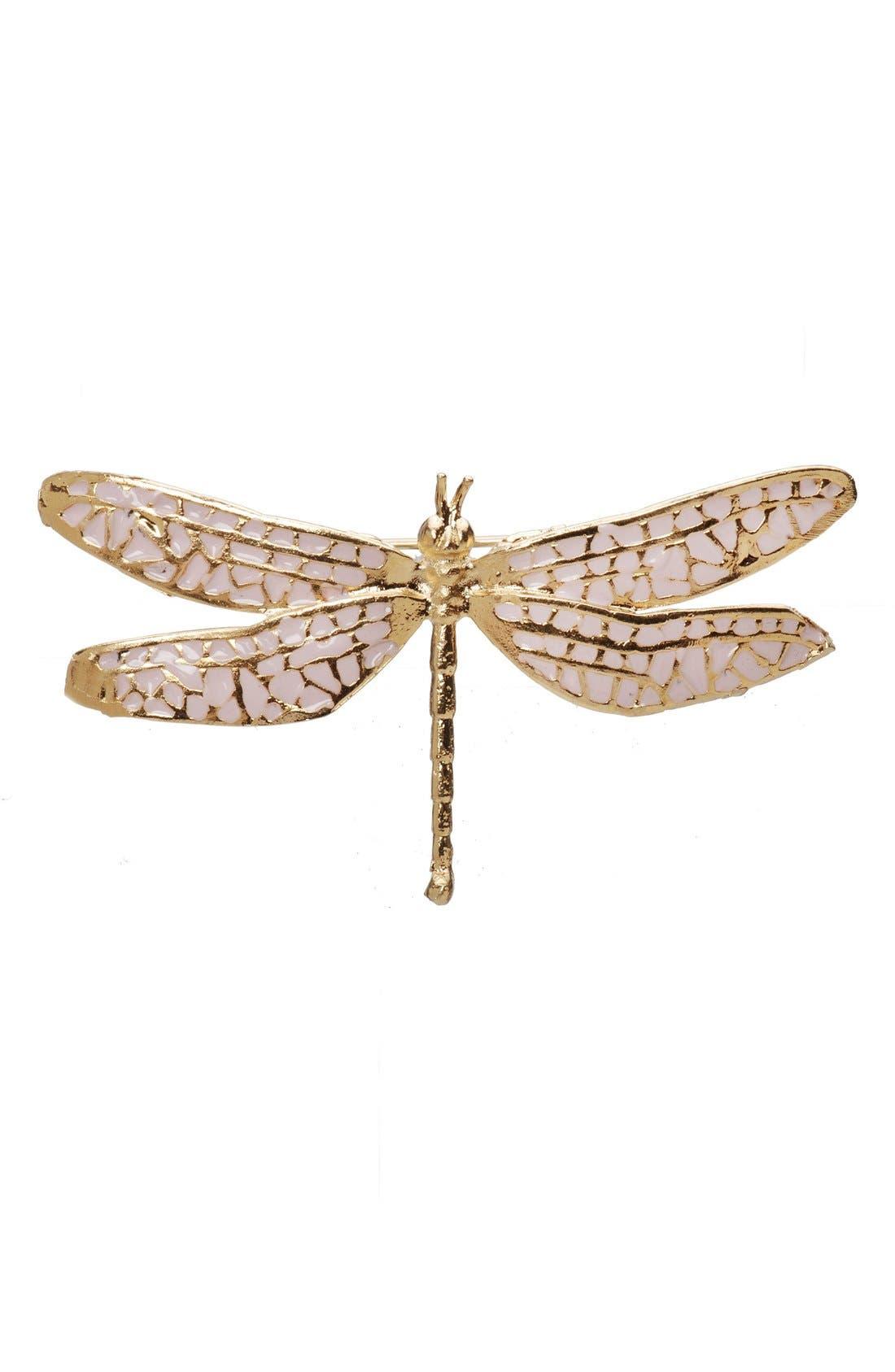 'Damsel Fly' Brooch,                         Main,                         color, Pink/ Gold